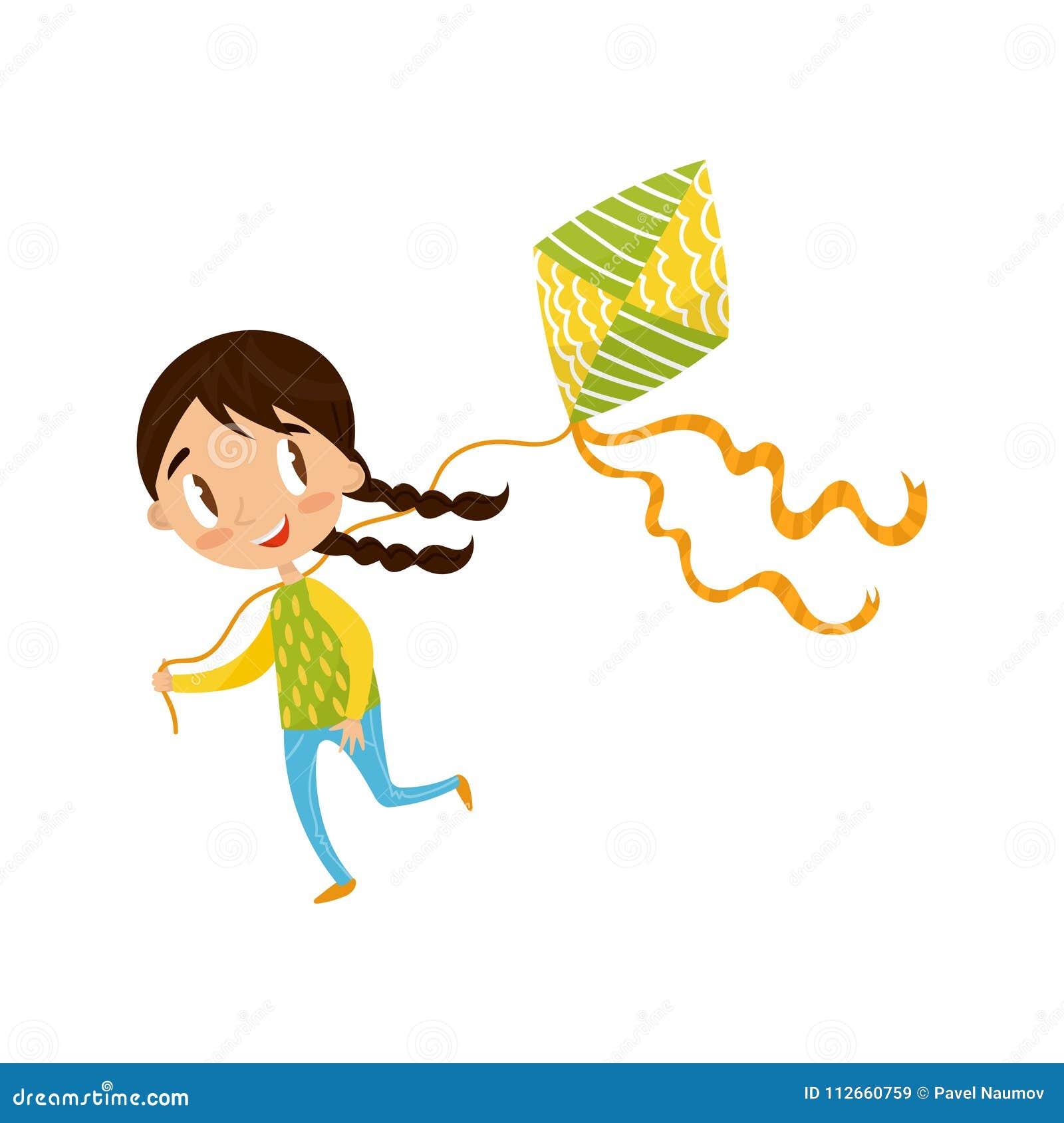 Petite Fille De Brune Jouant Le Cerf Volant Illustration