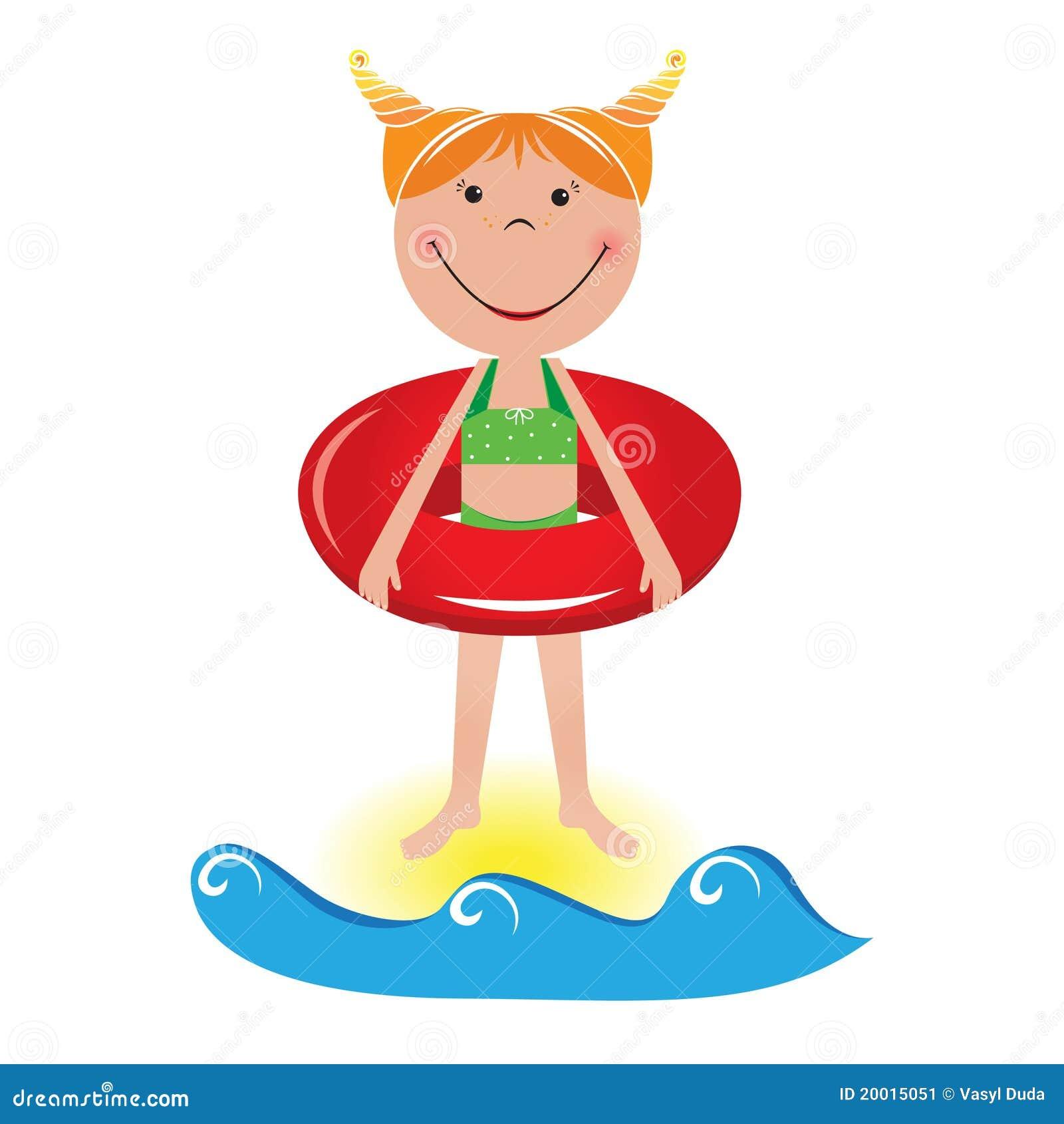 Petite fille de dessin anim avec une ligne de sauvetage for A la piscine dessin