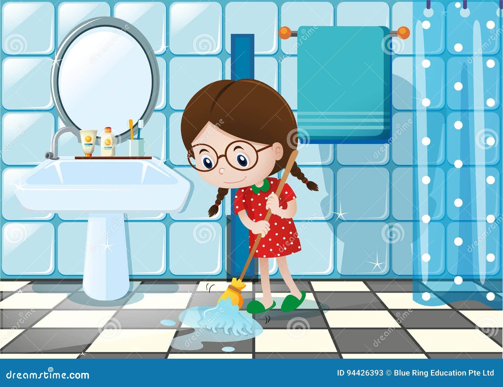 petite fille essuyant le plancher humide dans la salle de bains illustration de vecteur. Black Bedroom Furniture Sets. Home Design Ideas