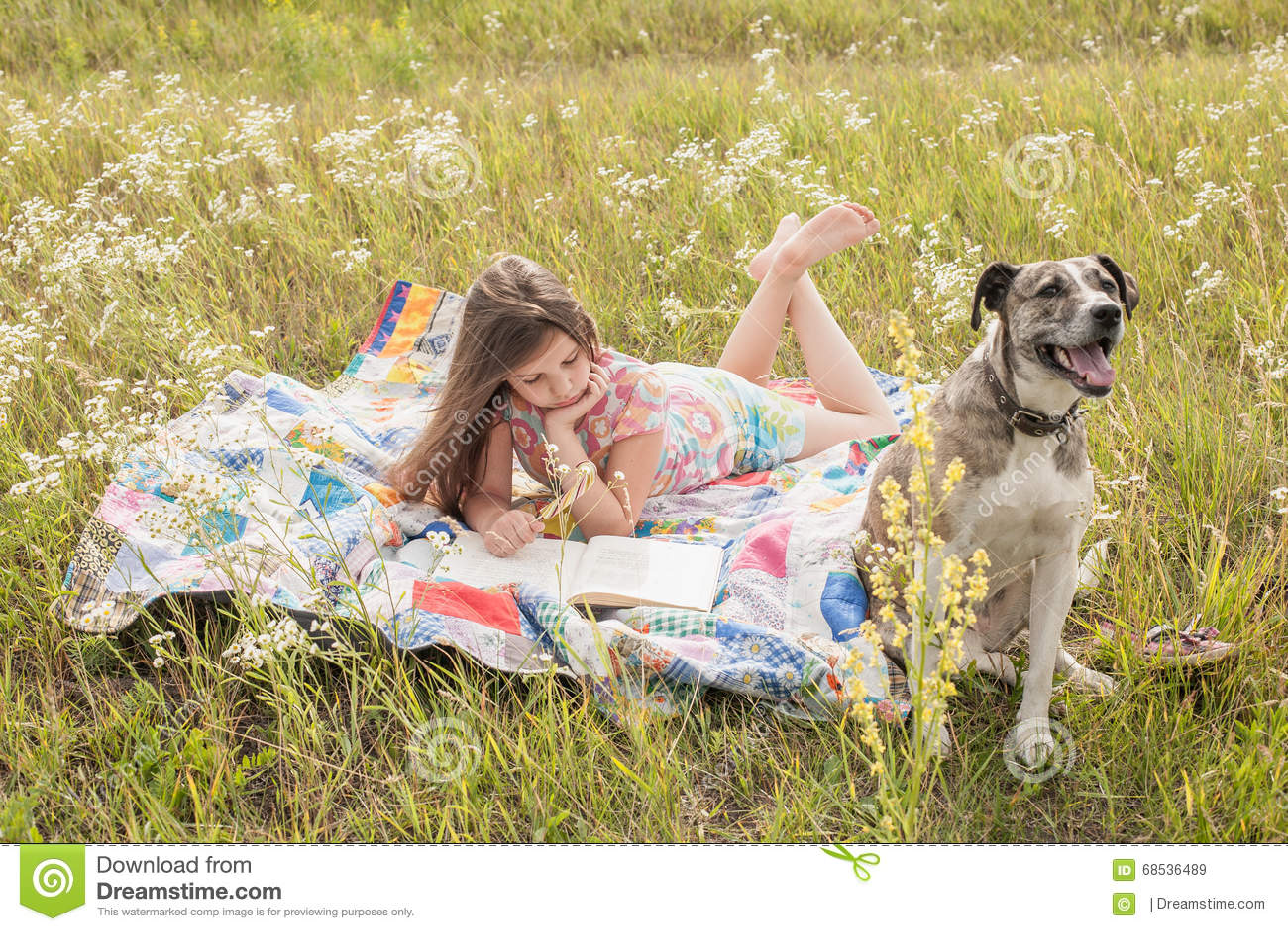 Petite fille et grand chien