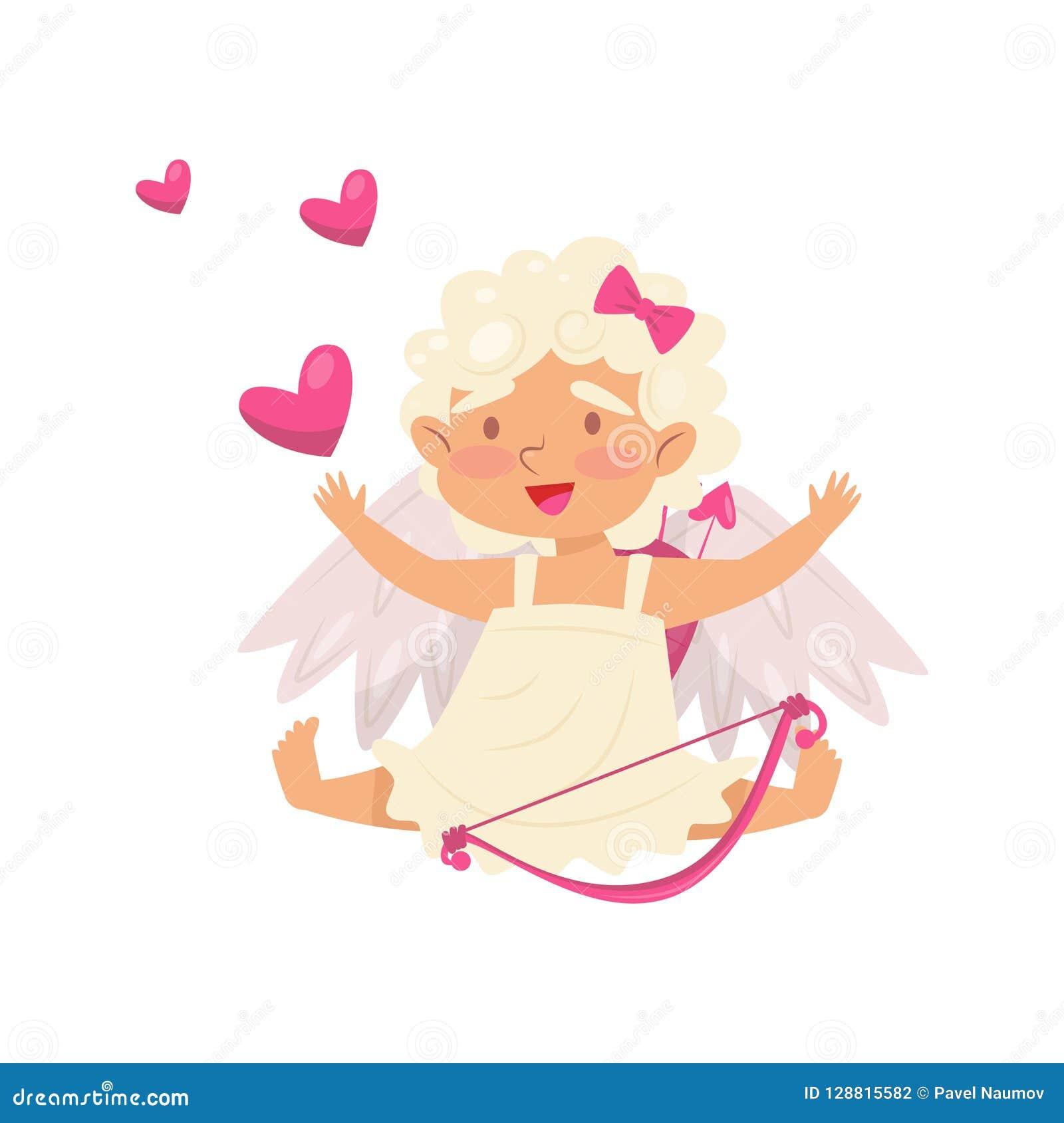 Petite fille heureuse s asseyant avec des mains, coeurs roses volant autour de elle Ange de l amour Cupidon avec le tir à l arc p