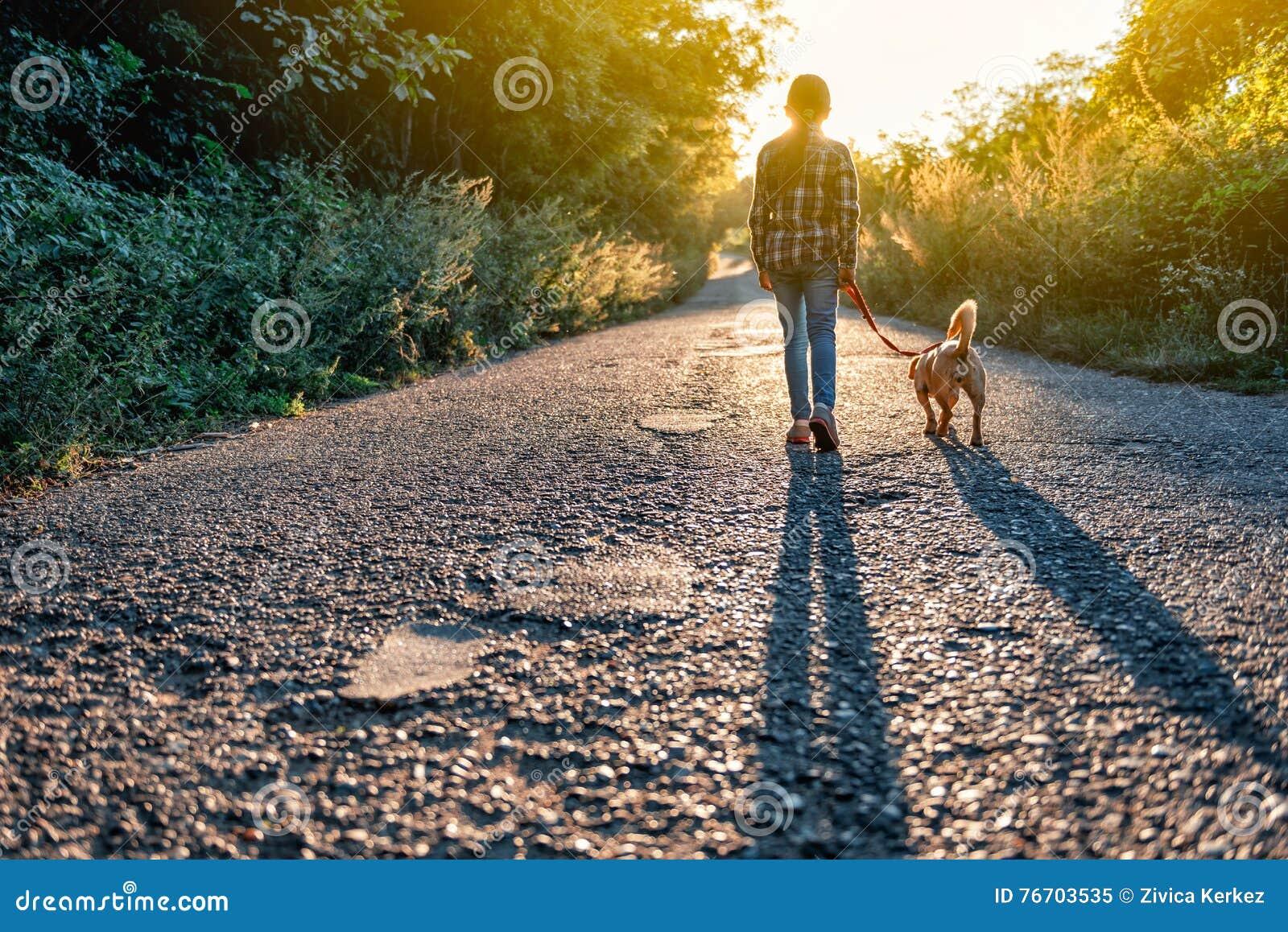 Petite fille marchant avec son chien sur la route