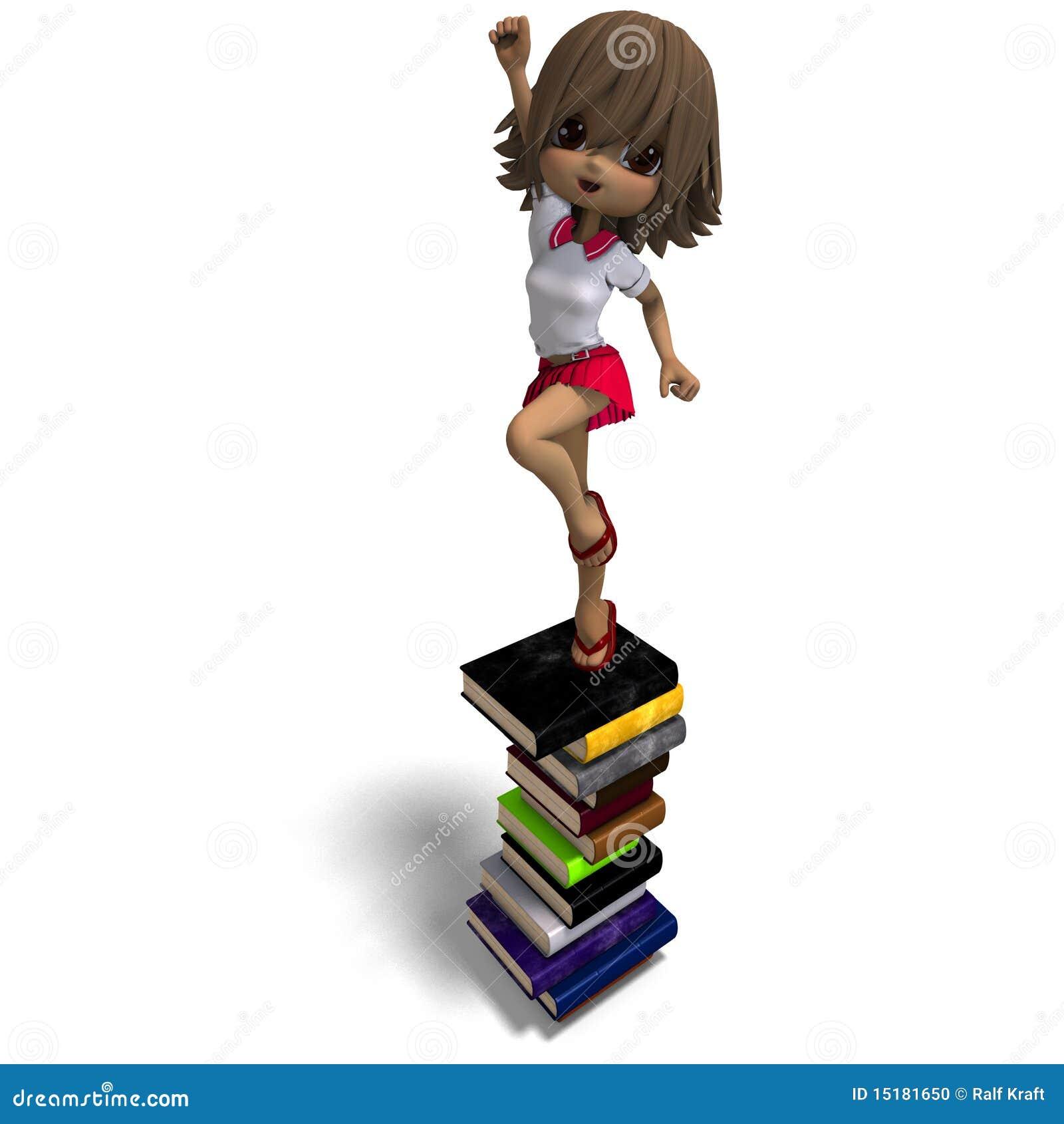 Petite Fille Mignonne D école De Dessin Animé Avec Beaucoup