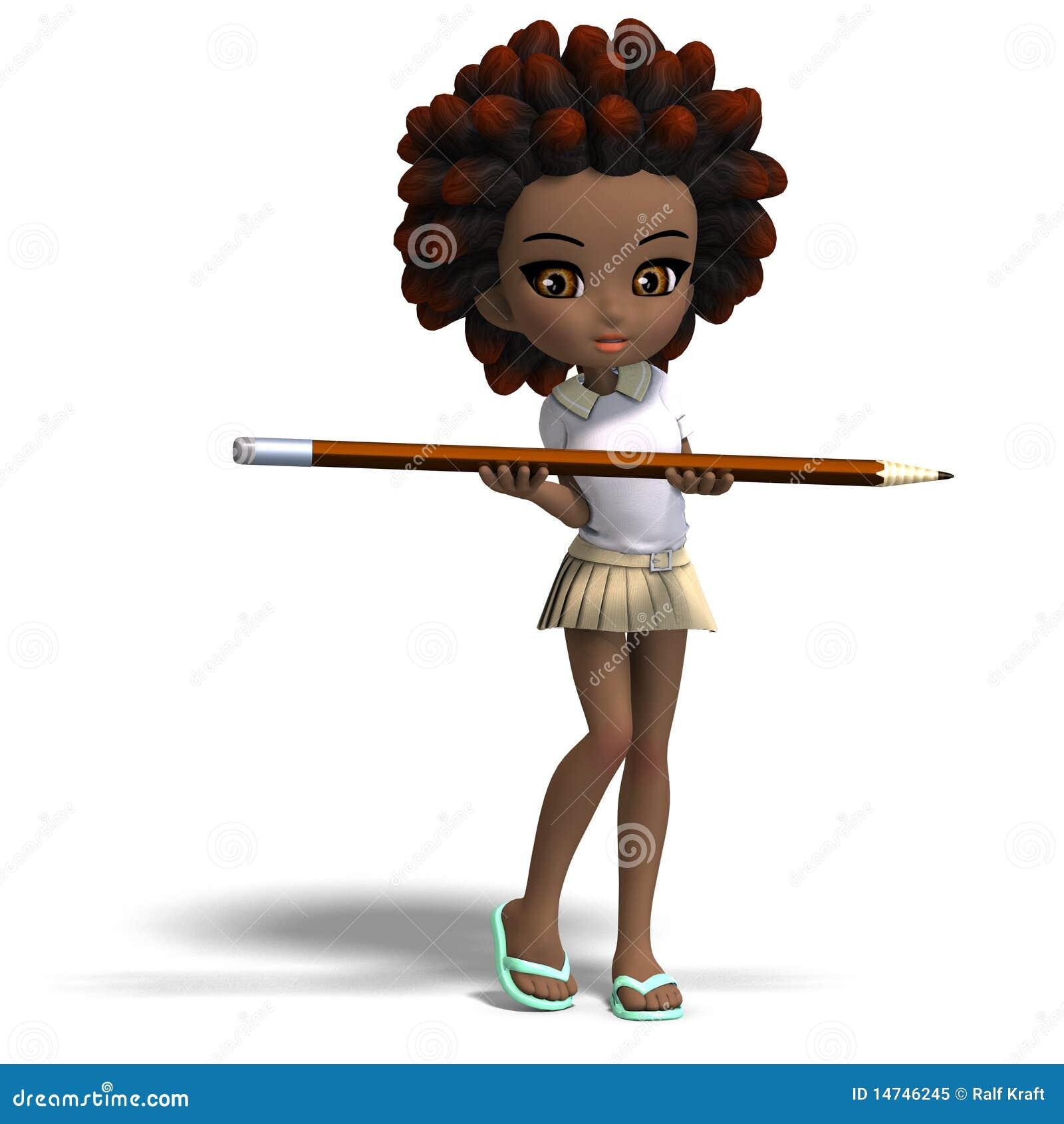 Petite Fille Mignonne D école De Dessin Animé Avec Le Cheveu