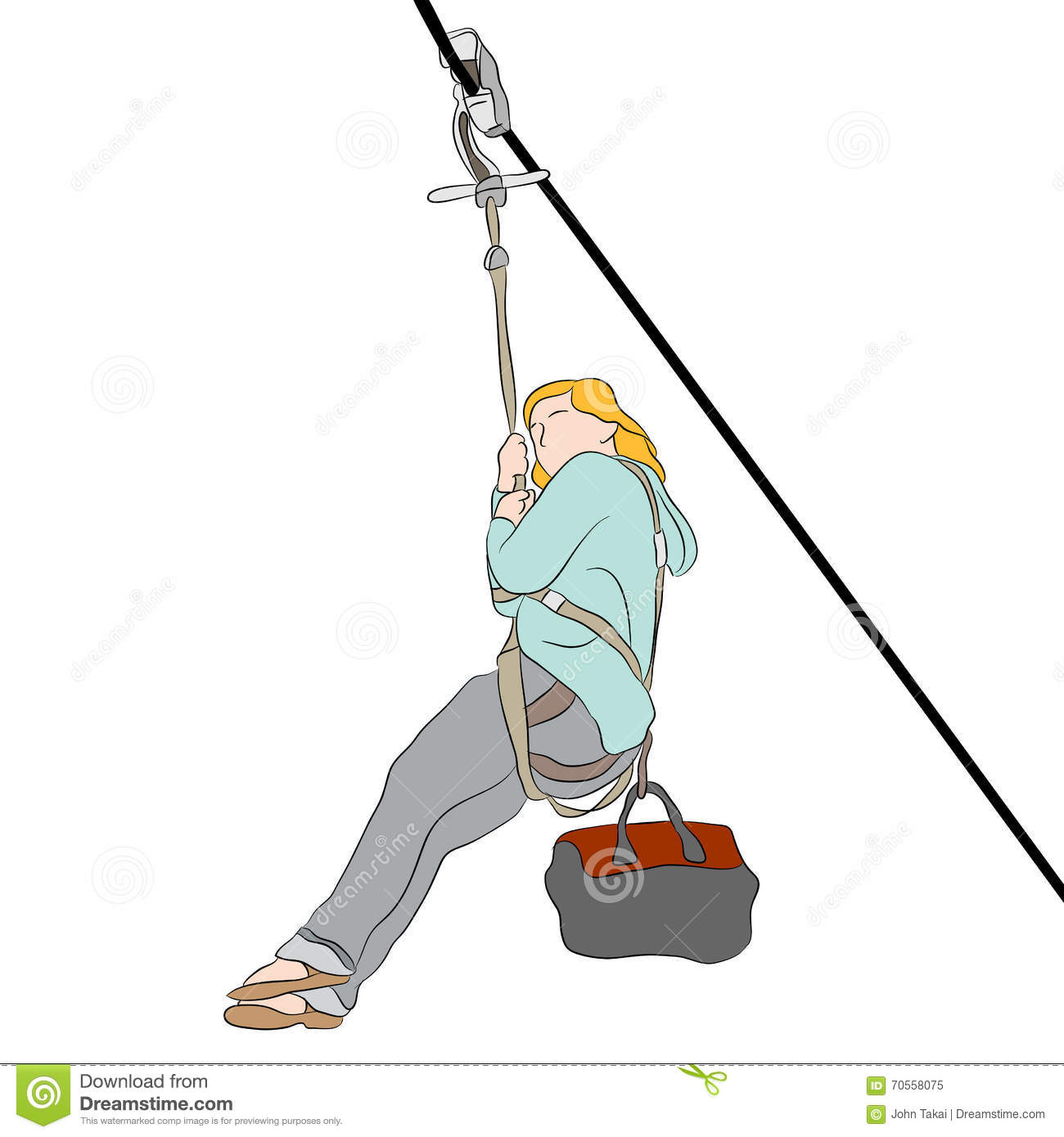 Zip Line Clipart : Petite girl on a zip line stock vector image