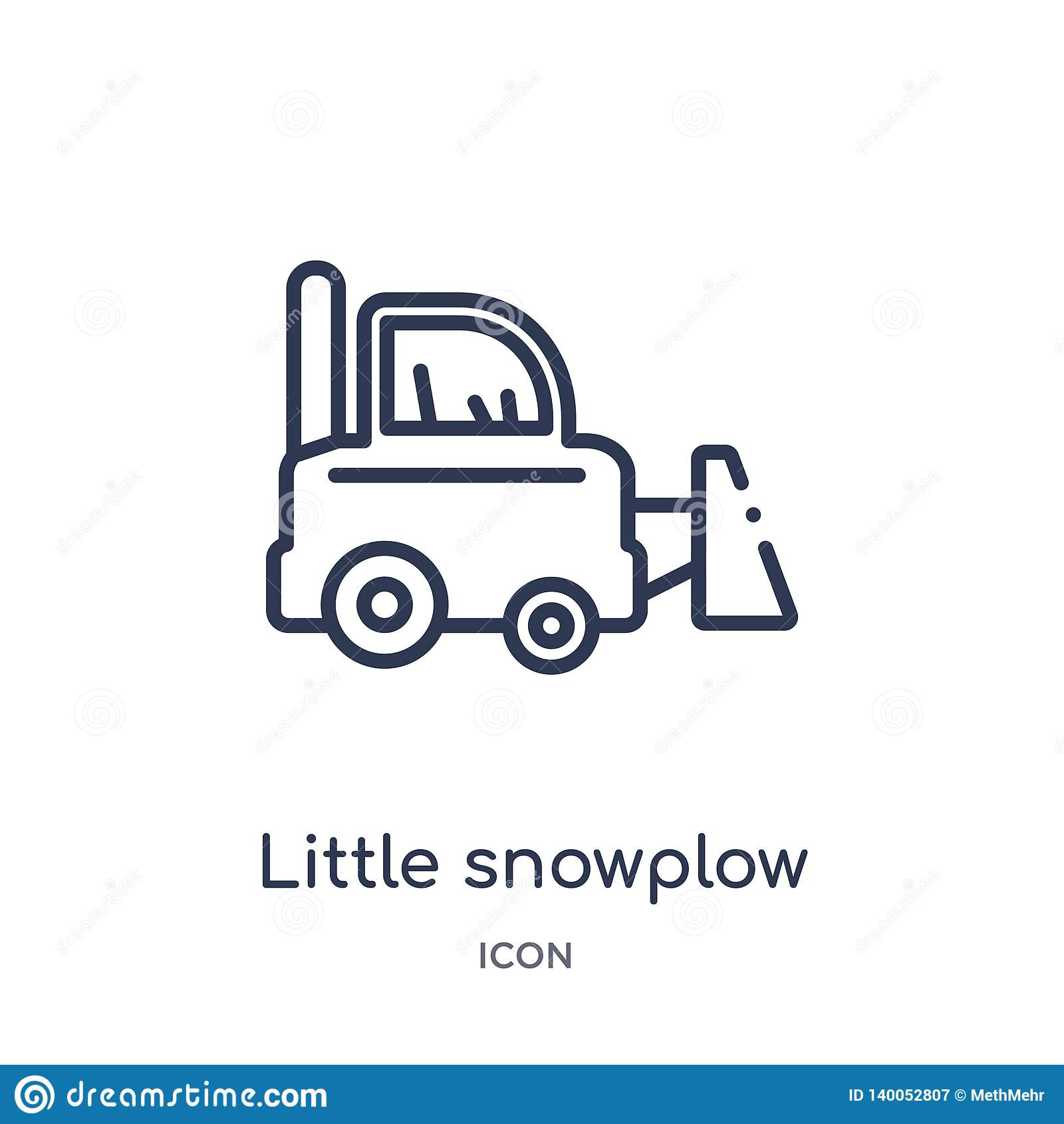 Petite icône linéaire de chasse-neige de collection d ensemble de construction Ligne mince petit vecteur de chasse-neige d isolem
