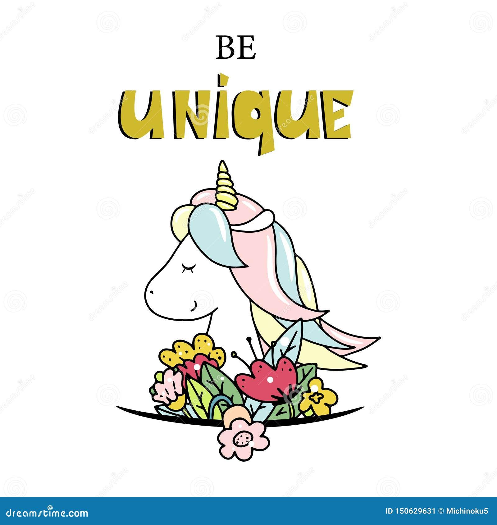 Petite licorne mignonne Soyez lettrage unique Illustration tir?e par la main de vecteur