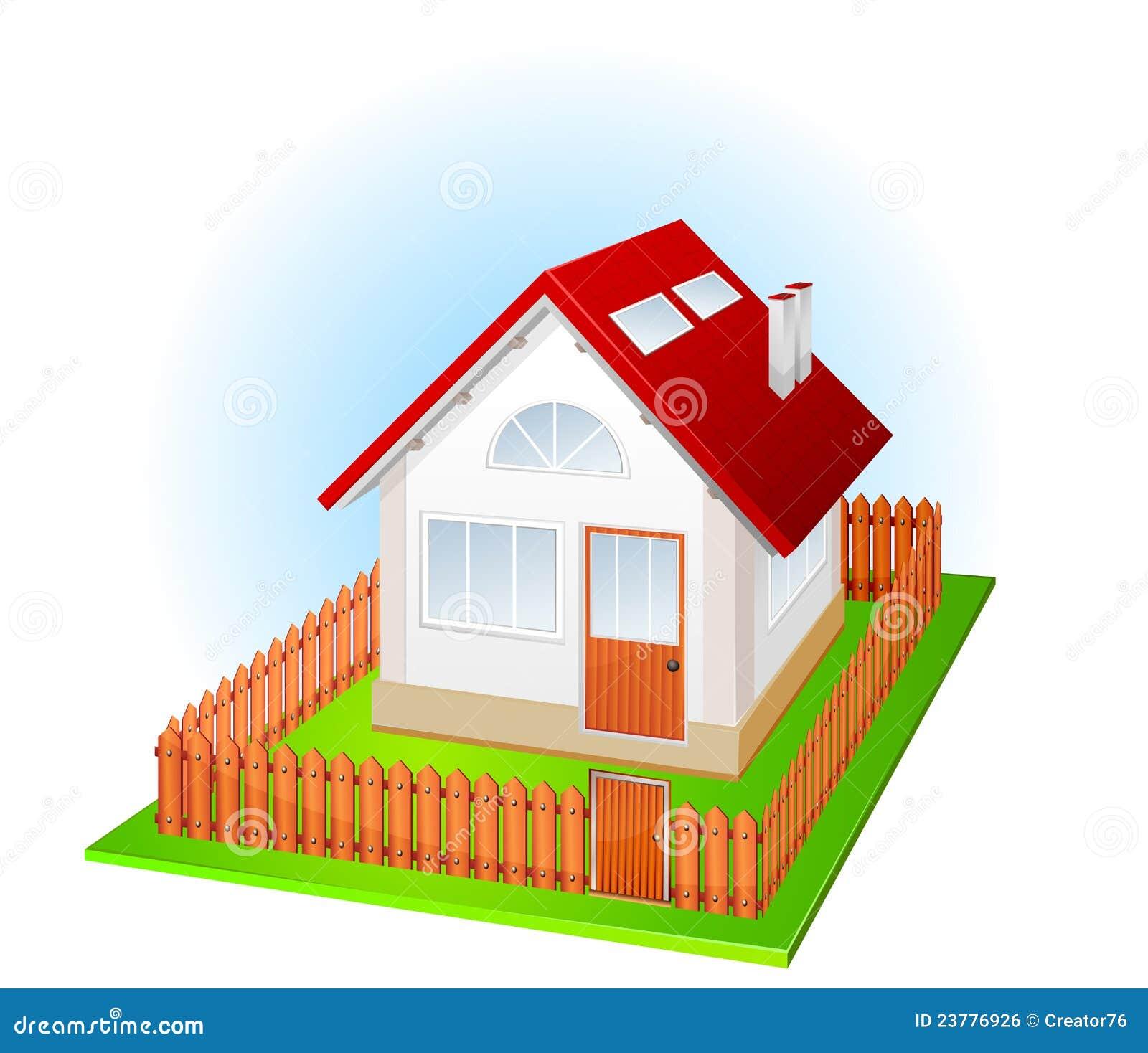 Petite maison avec la frontière de sécurité