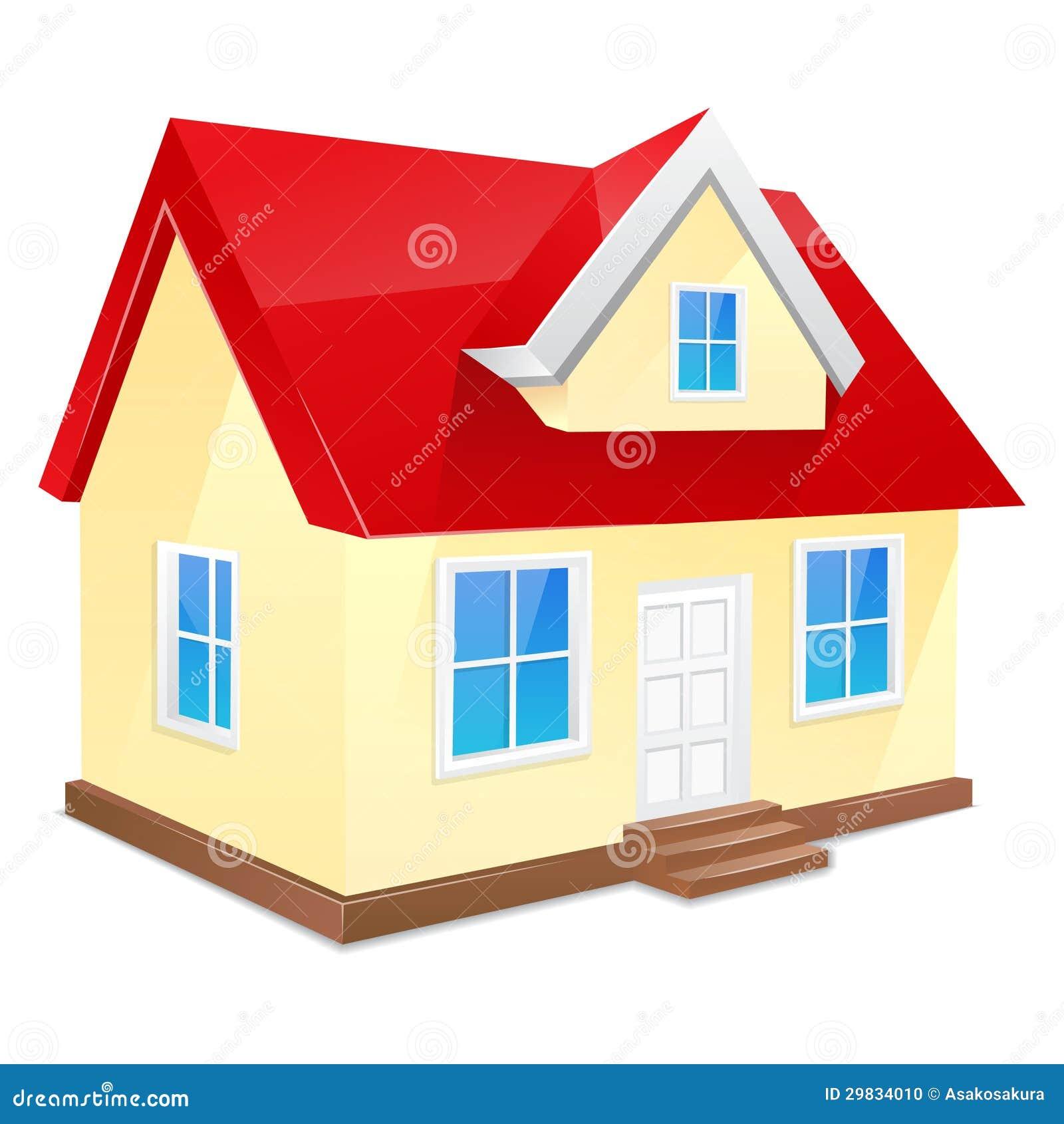 Petite maison avec le toit rouge d 39 isolement sur un blanc for Toit de maison dessin