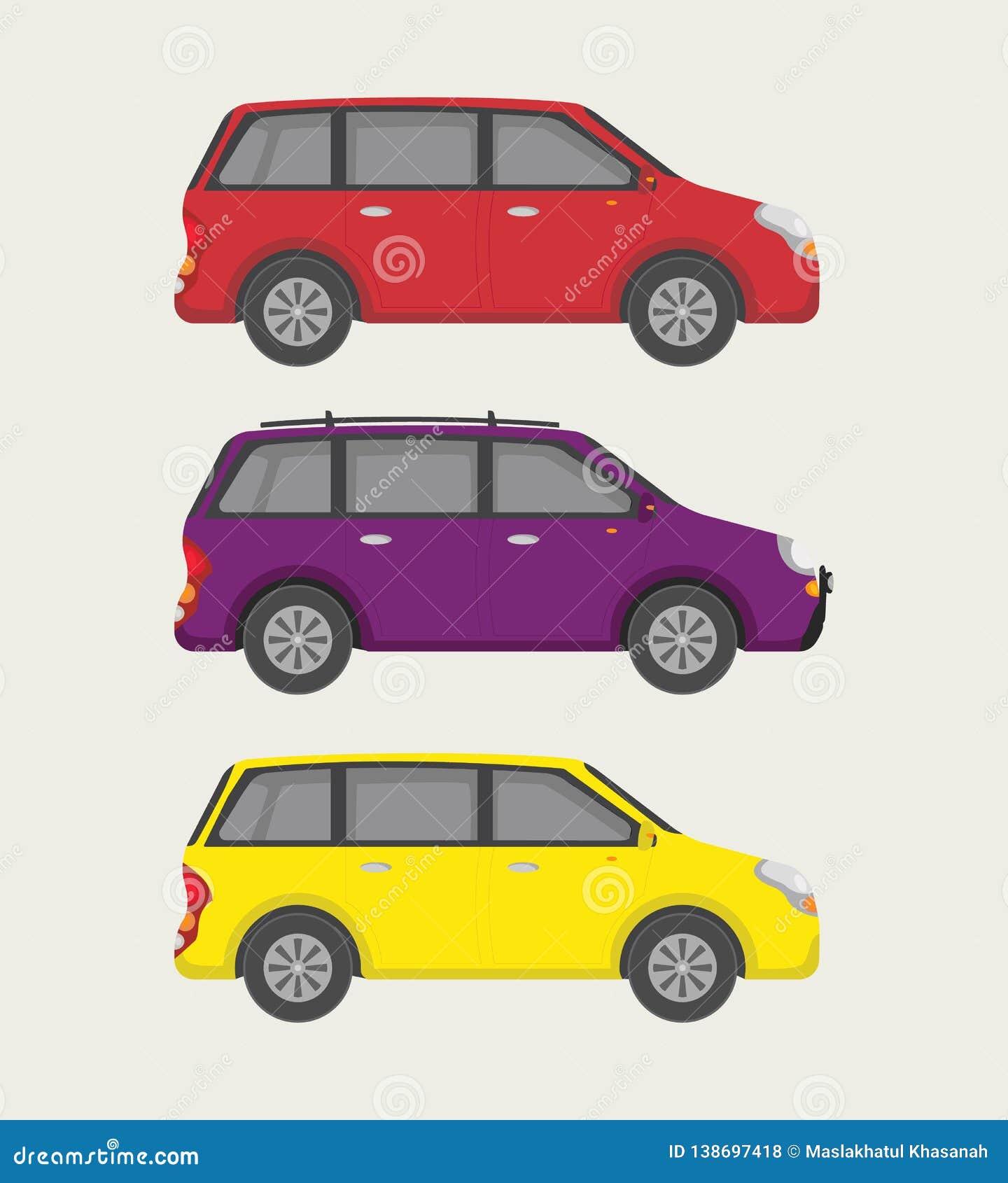 Petite mini collection de voiture avec trois l option - vecteur