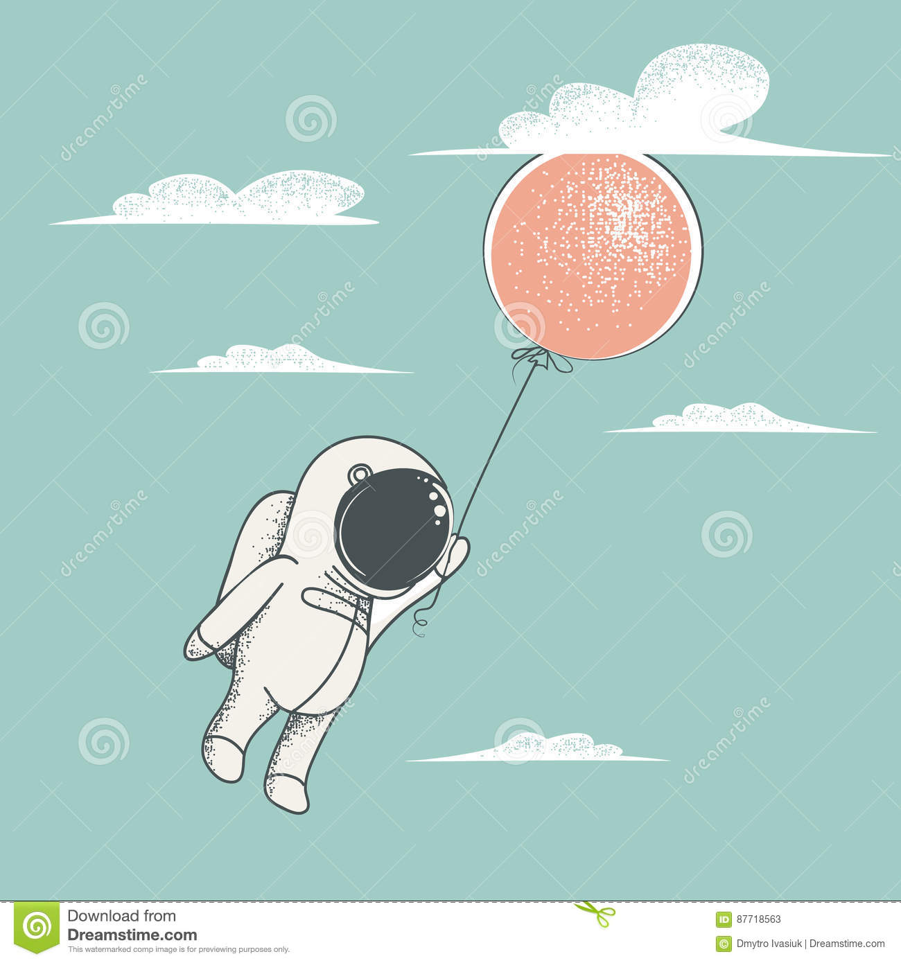 petite mouche d 39 astronaute avec le ballon rouge illustration de vecteur illustration du. Black Bedroom Furniture Sets. Home Design Ideas