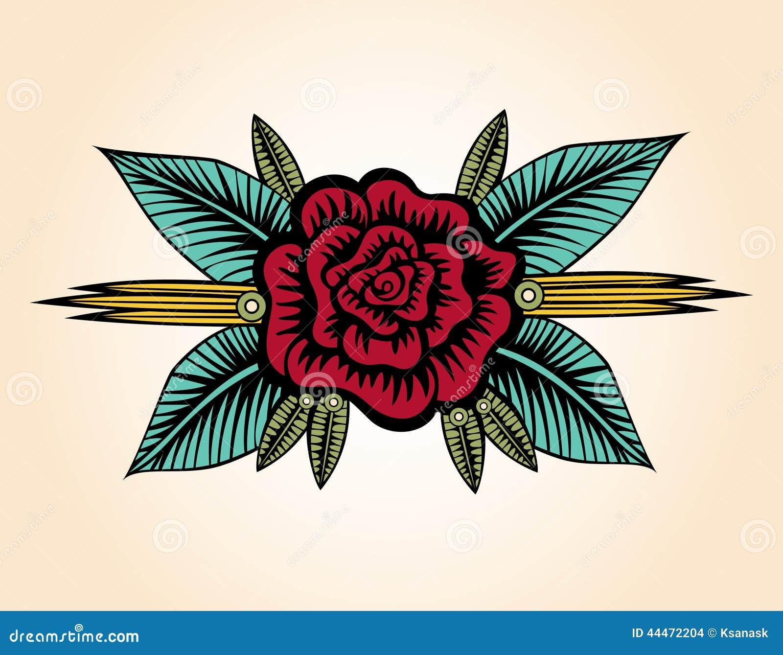 Petite Rose Tattoo Style illustration de vecteur ...