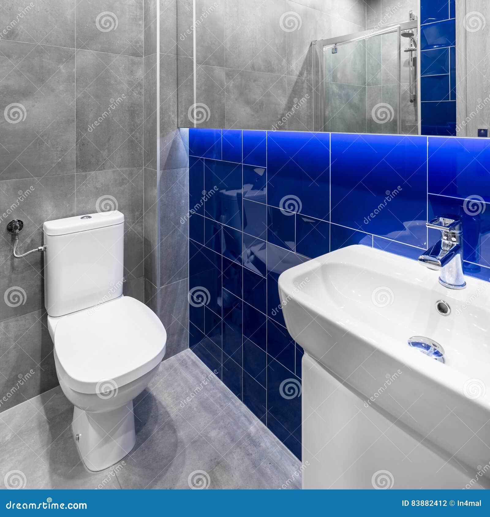 Petite Salle De Bains Grise Et Bleue Photo stock - Image du ...