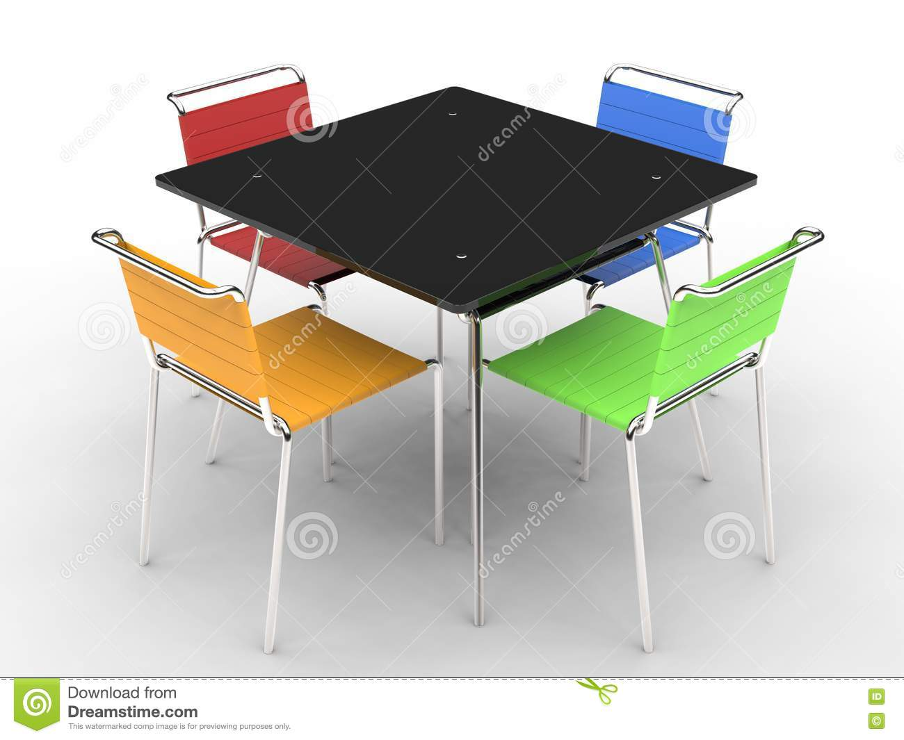 petite table de salle manger noire avec les chaises color es photo stock image du noir. Black Bedroom Furniture Sets. Home Design Ideas