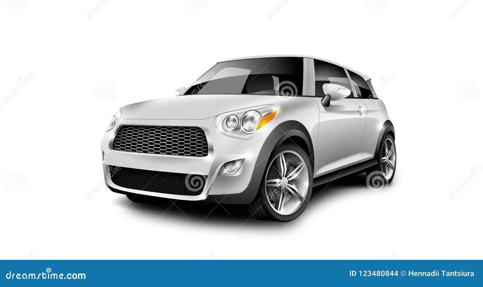 Petite voiture compacte générique métallique blanche sur le fond blanc avec le chemin d isolement