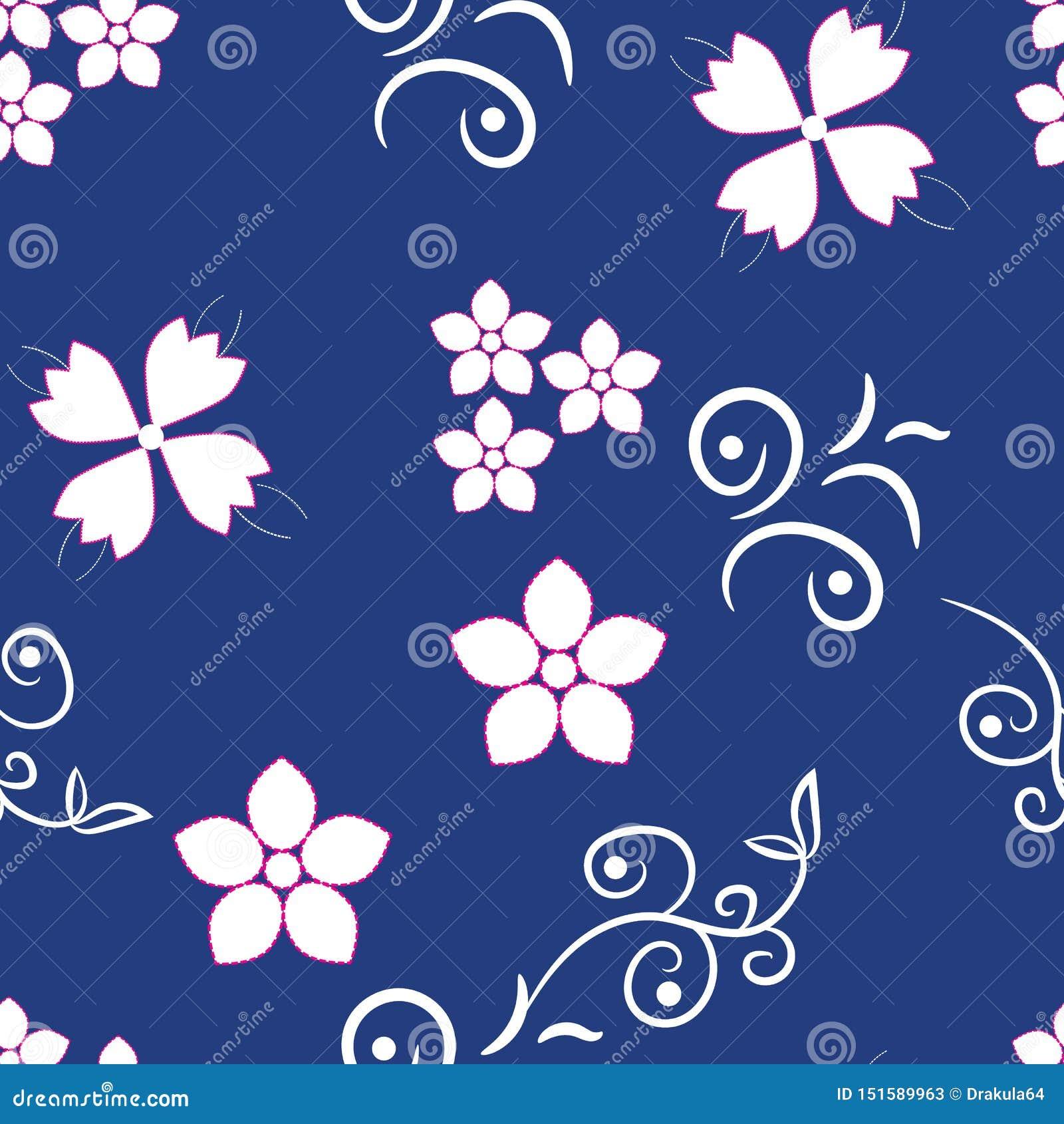 Petites fleurs blanches sur le fond bleu