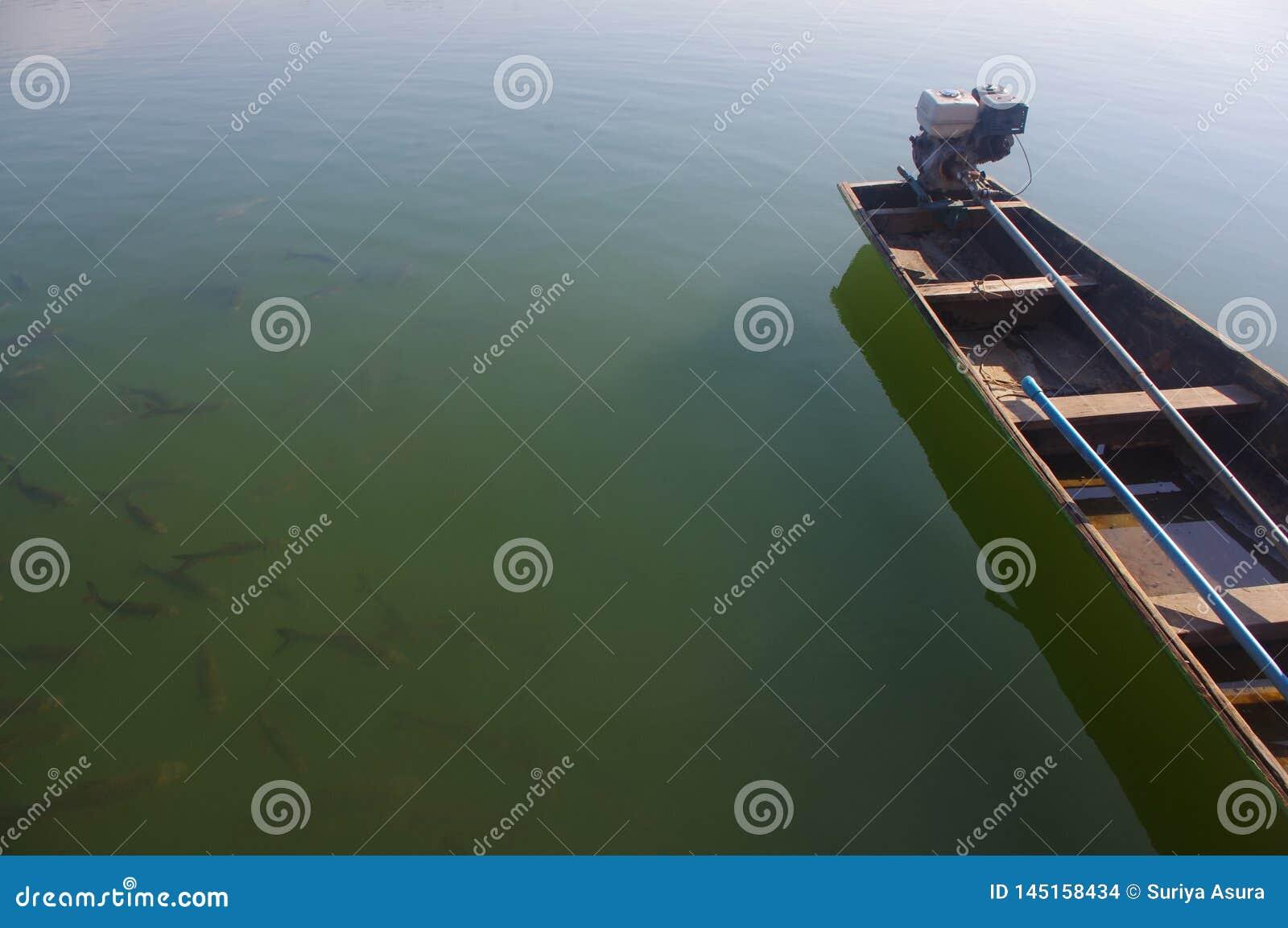Petits bateaux de pêche faits en temps de attente en bois de pêcher des poissons