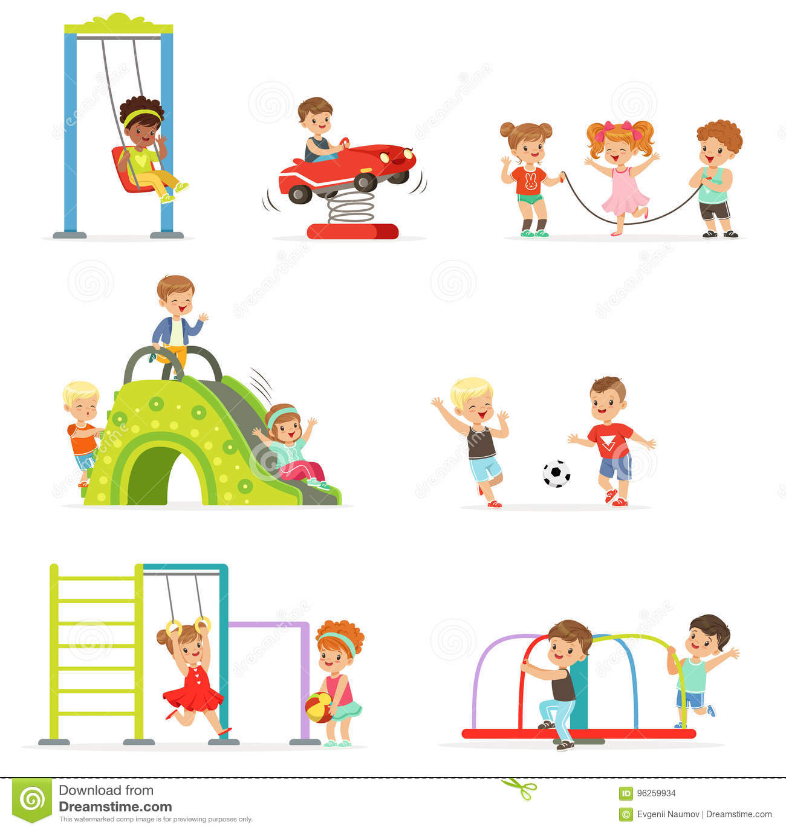 Petits enfants de bande dessinée mignonne jouant et ayant l amusement au terrain de jeu réglé des illustrations de vecteur