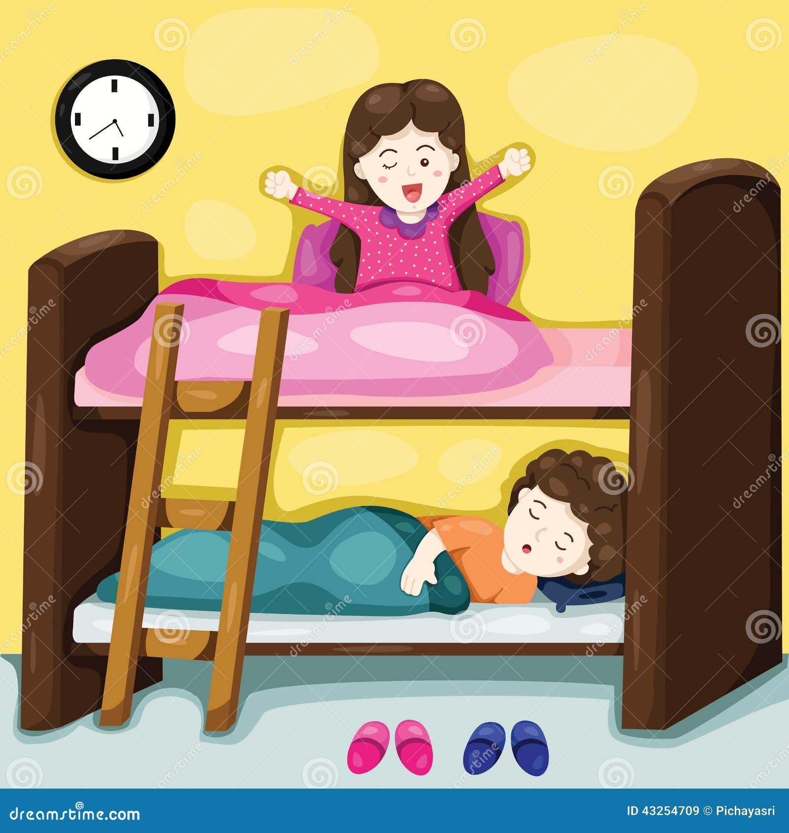 petits enfants sur le lit superpos illustration de vecteur image 43254709. Black Bedroom Furniture Sets. Home Design Ideas