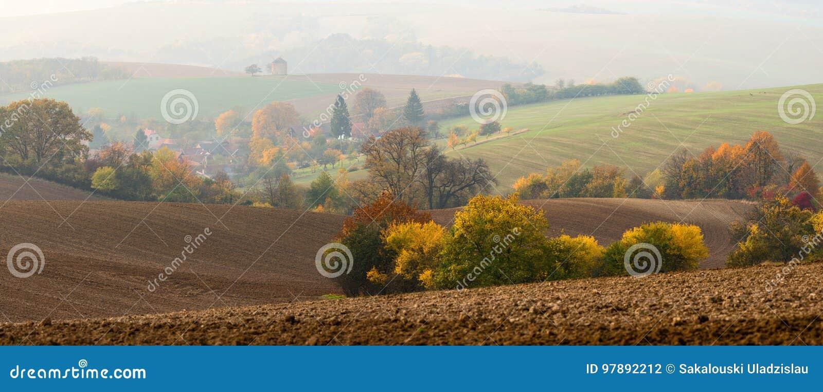 Petits groupes intéressants de l Europe centrale d Autumn Morning Landscape With Many : Le moulin dans la brume, troupeau de frôl