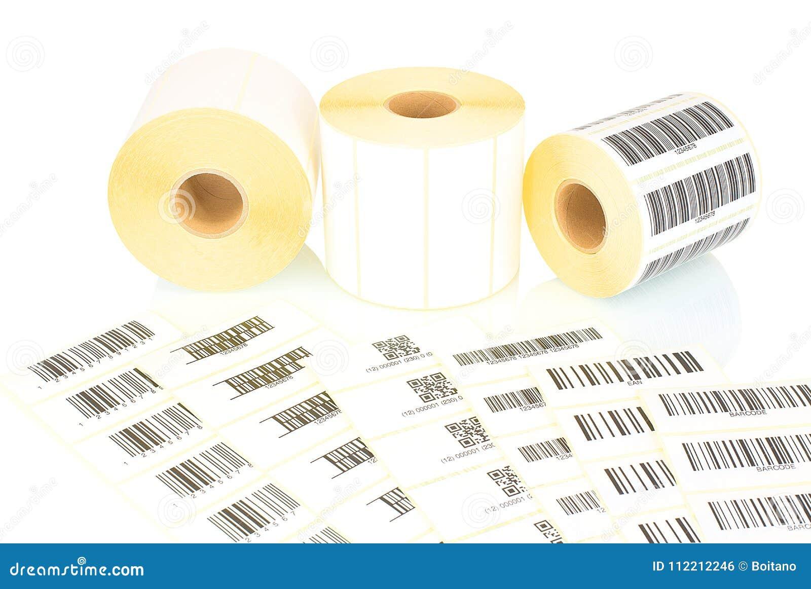Petits pains blancs de label et codes barres imprimés d isolement sur le fond blanc avec la réflexion d ombre Bobines blanches de