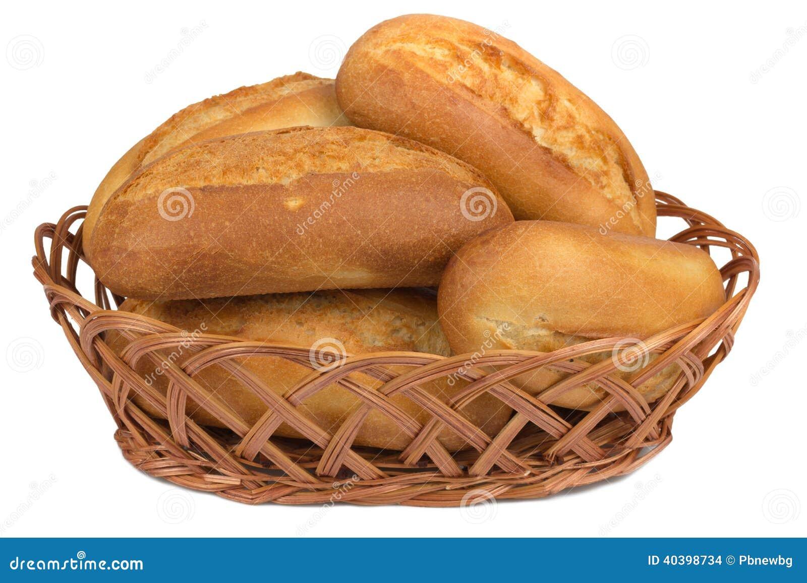 petits pains dans le panier de pain sur le fond blanc photo stock image 40398734. Black Bedroom Furniture Sets. Home Design Ideas