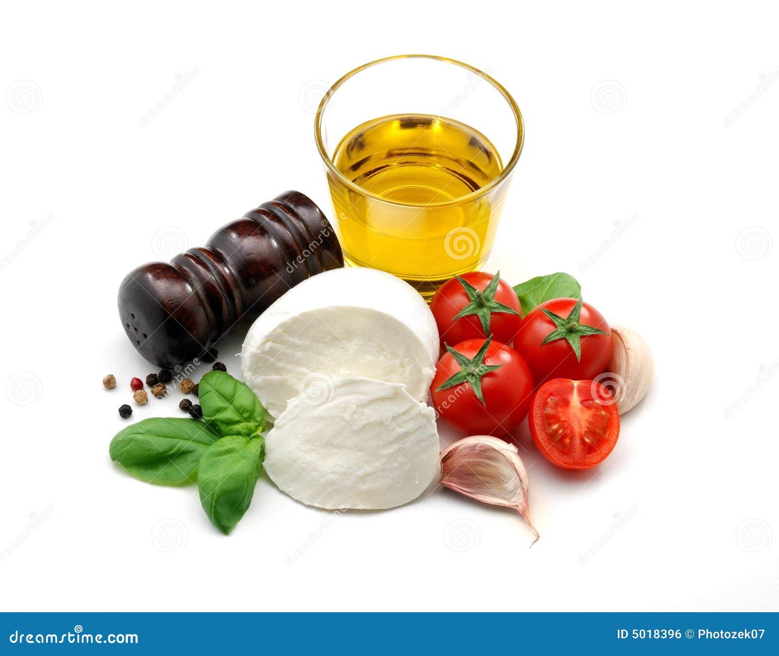 Petróleo verde-oliva, mozzarella, tomates, manjericão e alho