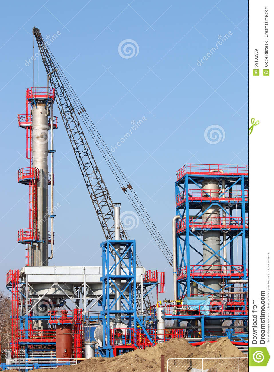 Petrochemical Plant Construction Site Stock Image - Image of