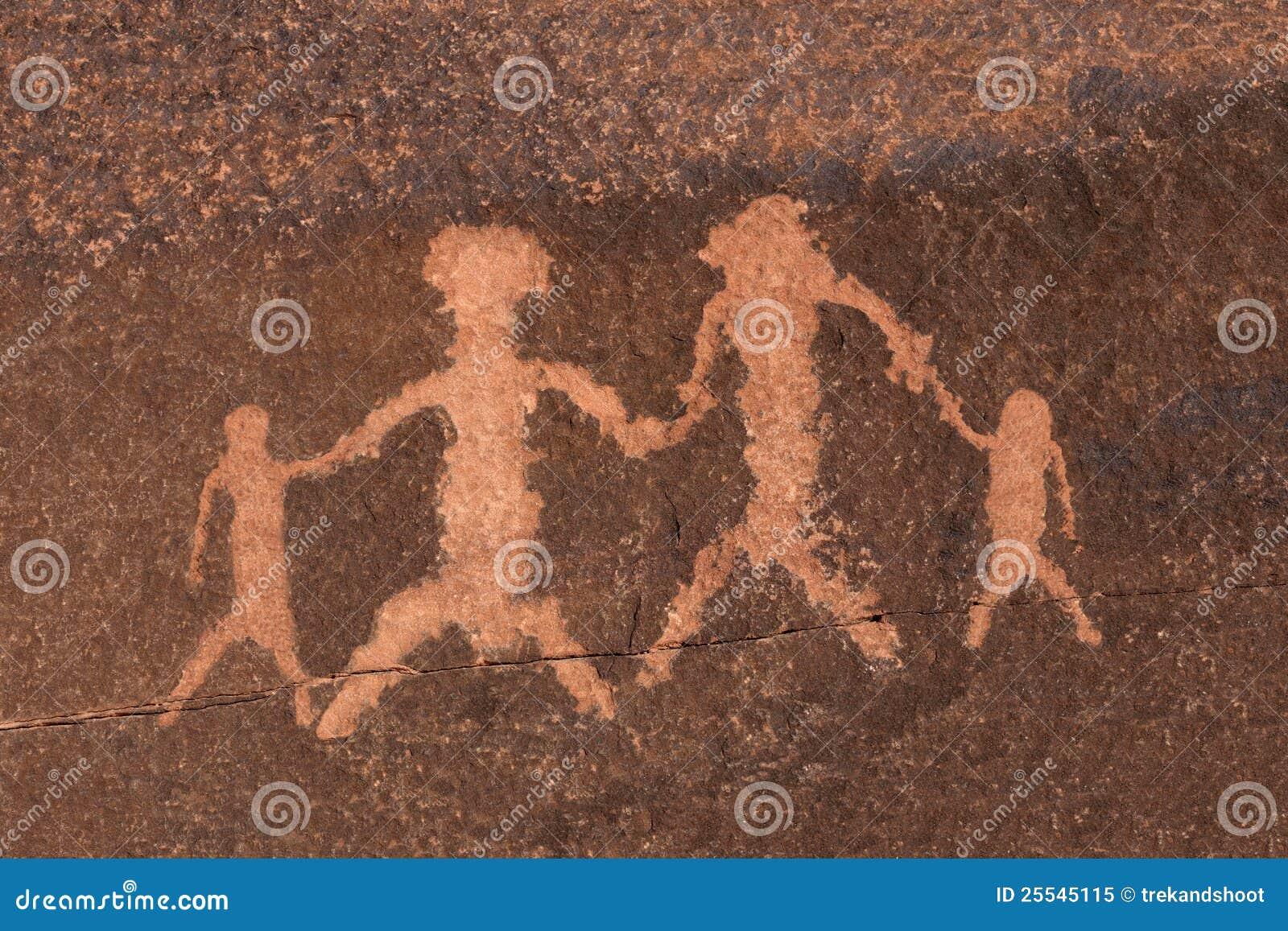 Petroglyphe-Felsen-Kunst-Familie