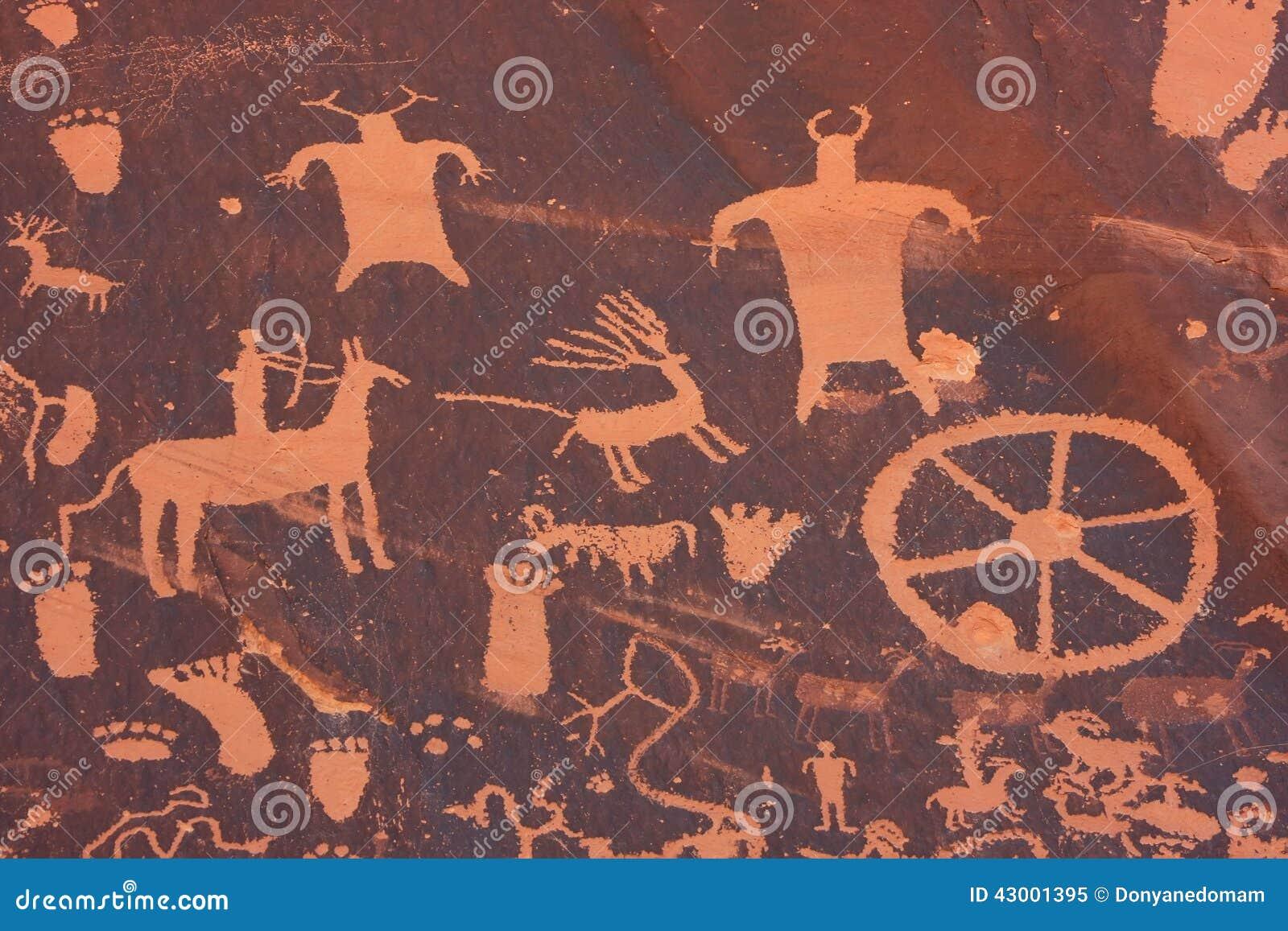 Petroglyphs indianos, monumento histórico do estado da rocha do jornal, Utá, EUA