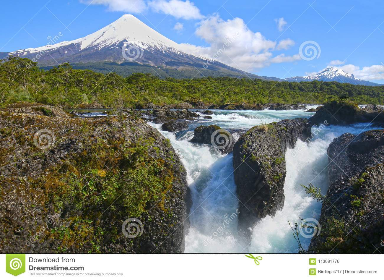 Petrohue Waterfalls with Osorno Volcano in the background. Near the City of Puerto Varas, Chile.