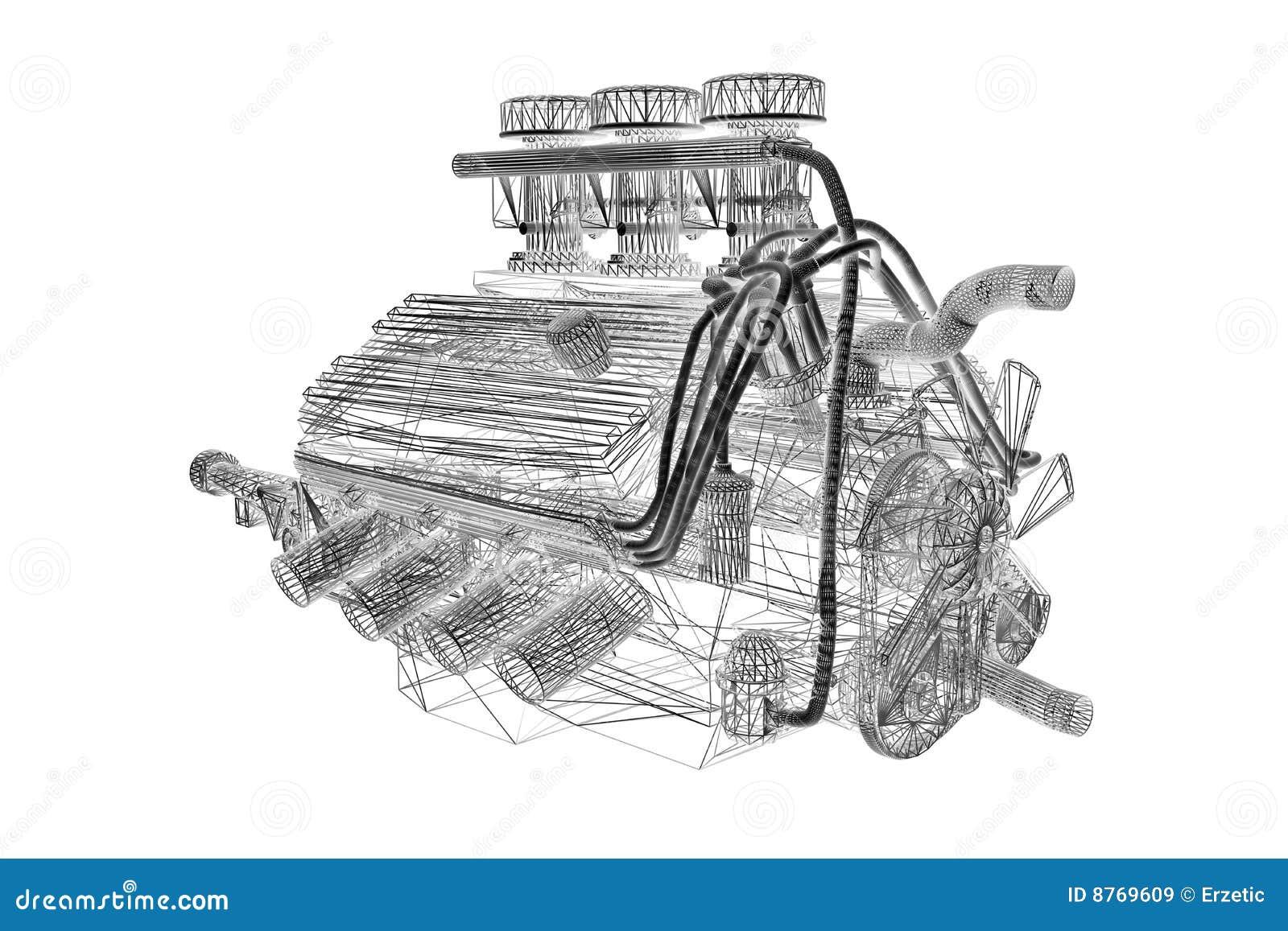 f1 engine wireframe