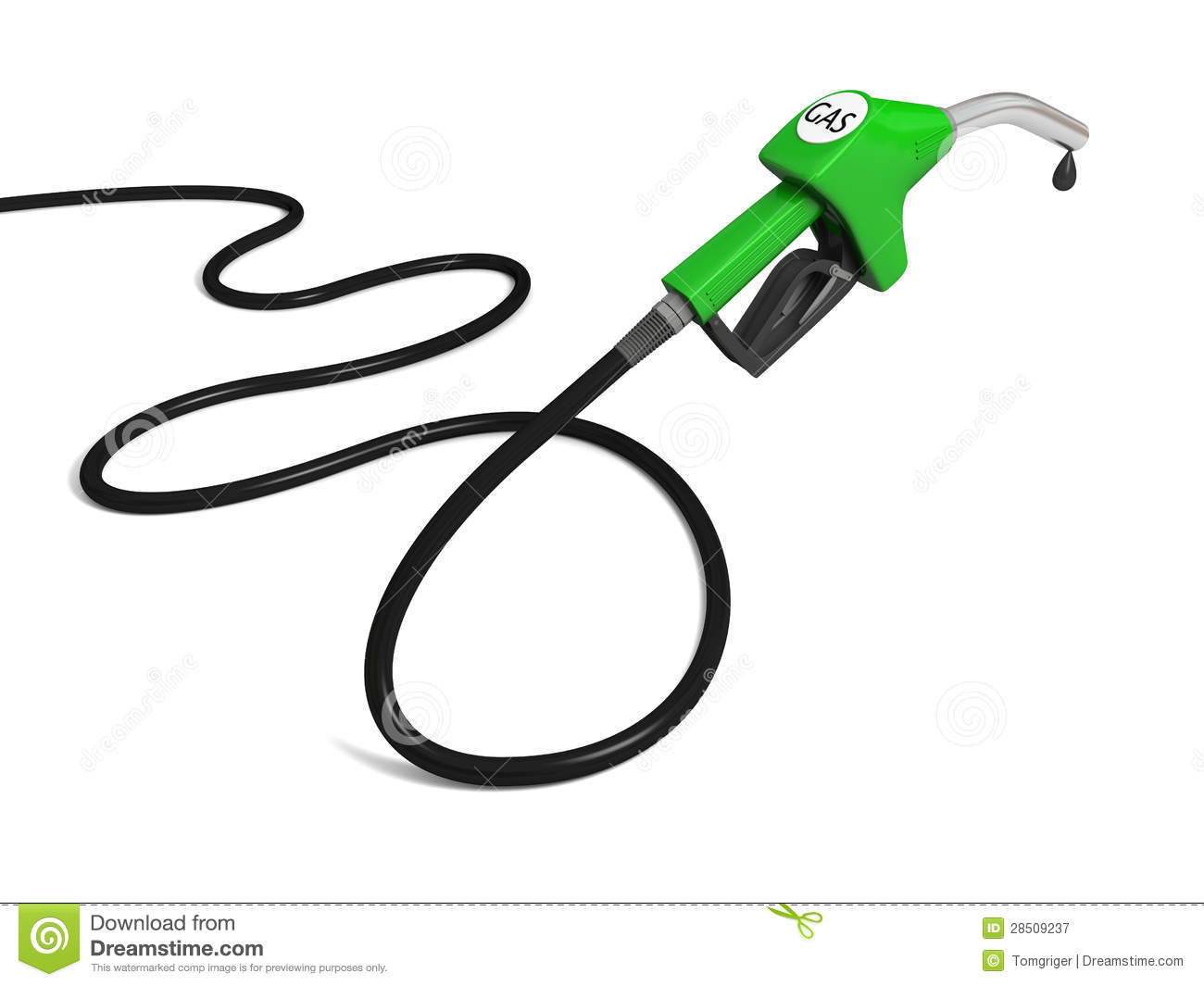 Illustration of green fuel pump nozzle with oil drop on white ...