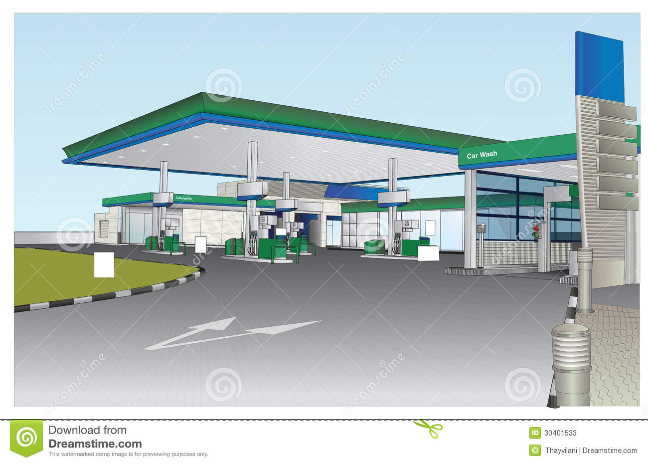 Illustrated coloured view of a Petrol station. Vector Image. Detailed ...