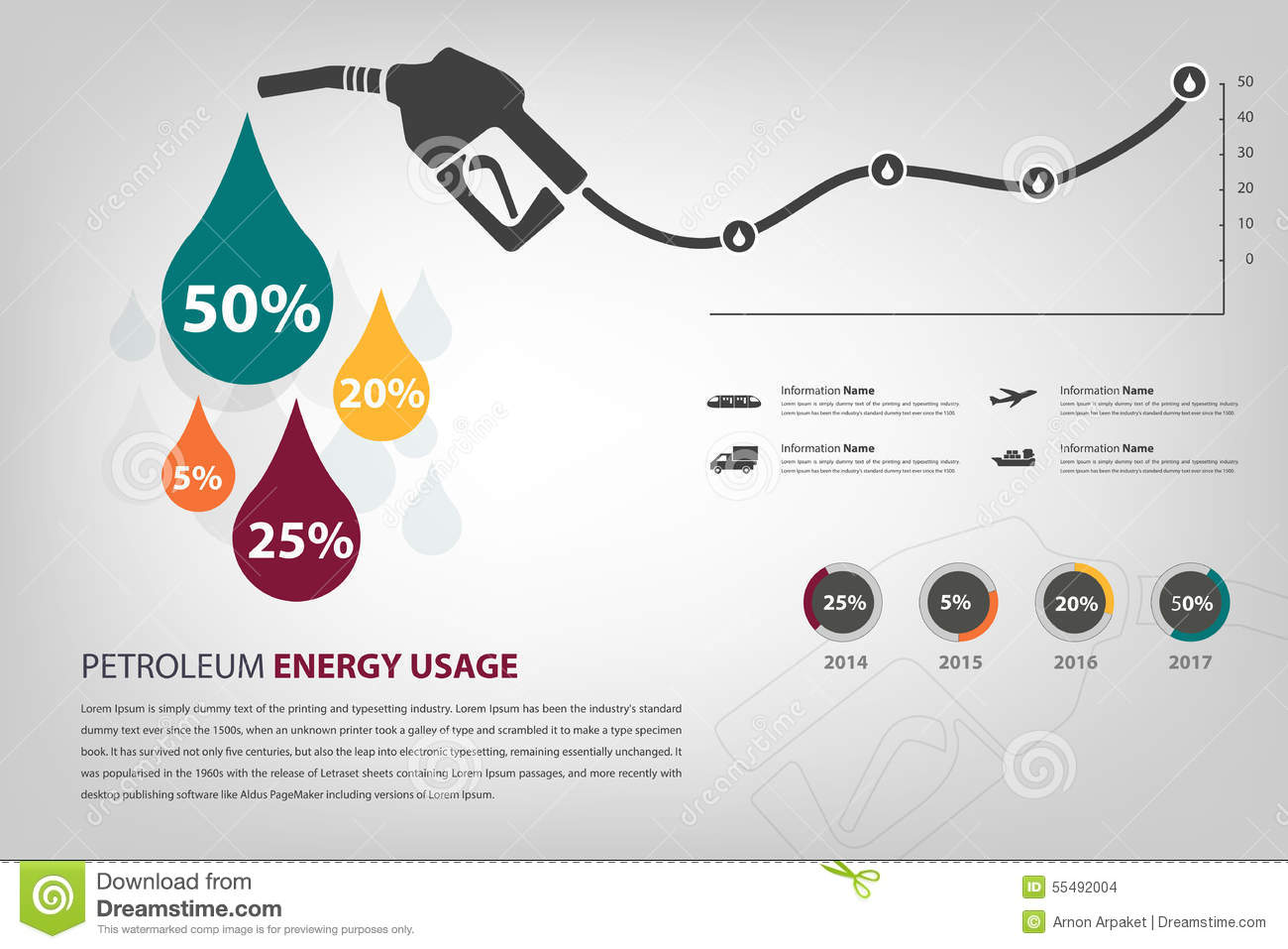 Petroleum Energy Usage Infographic Stock Vector