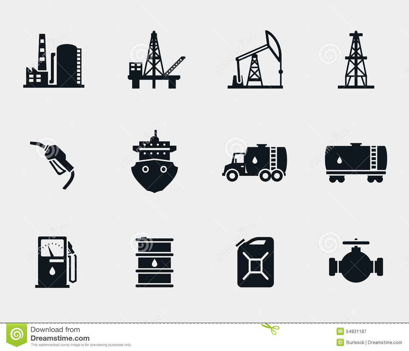 petroleum and oil icons set stock vector