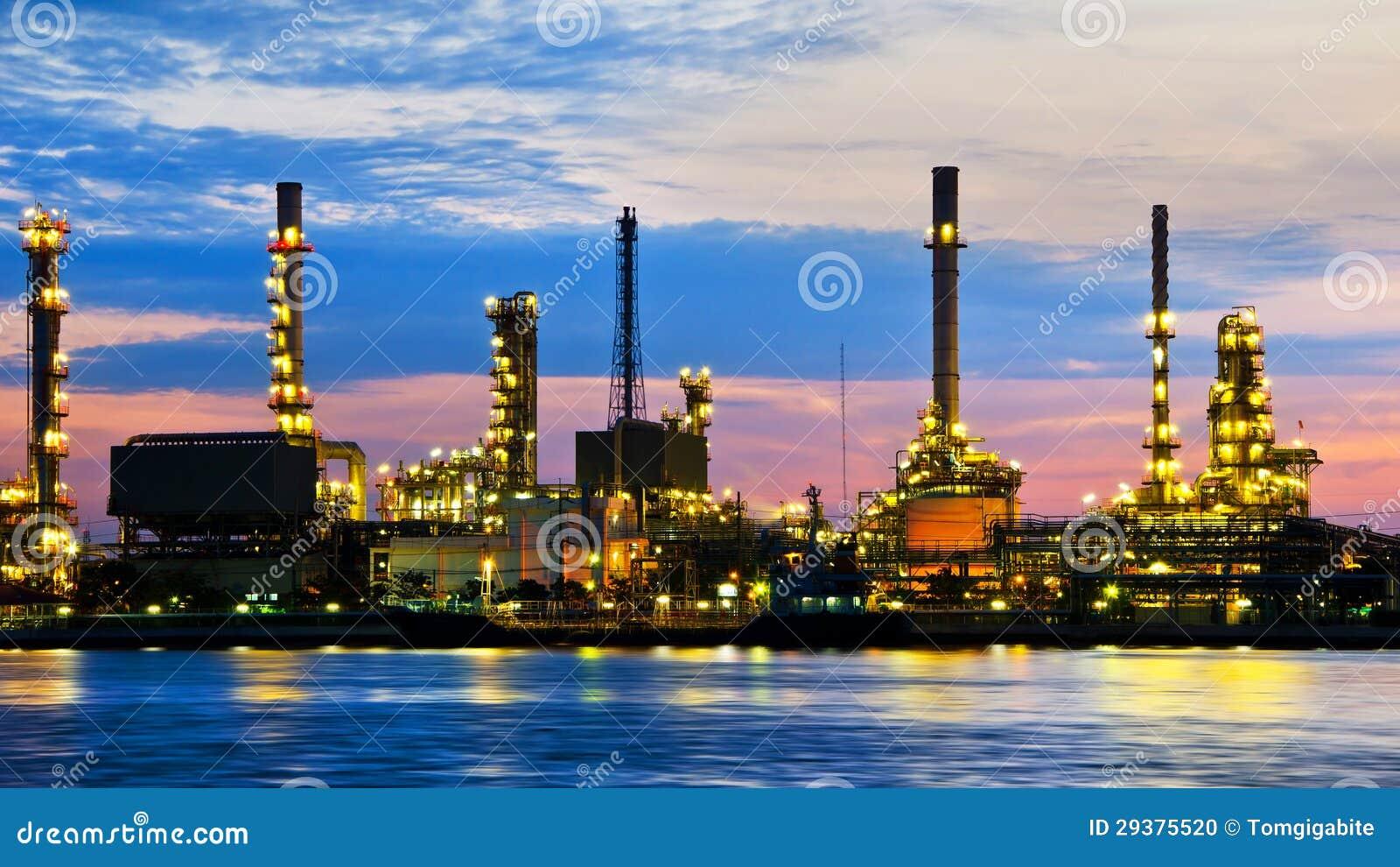 Petroleum Oil Refinery Factory Over Sunrise Stock Photo