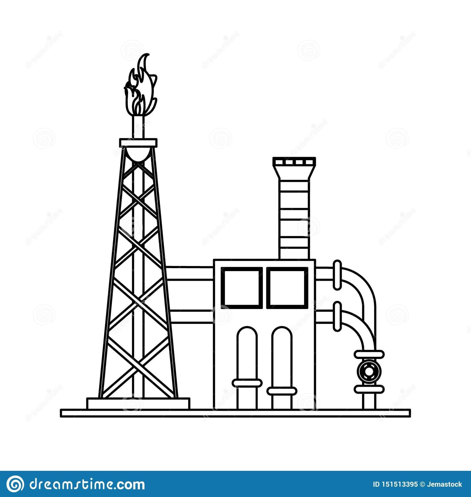 Petroleum Oil Refinery Plant With Machinery In Black And