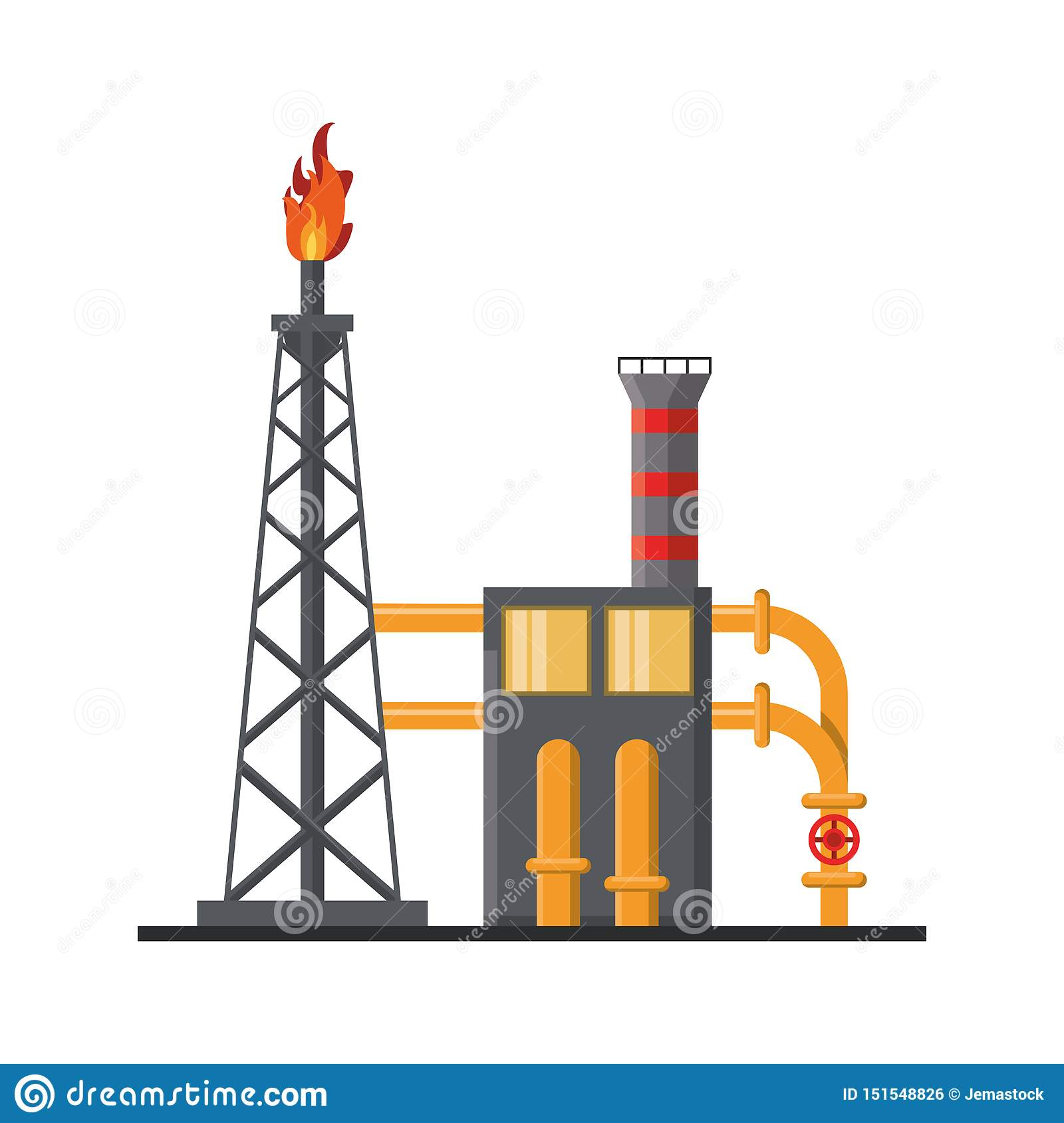 Petroleum Oil Refinery Plant With Machinery Stock Vector
