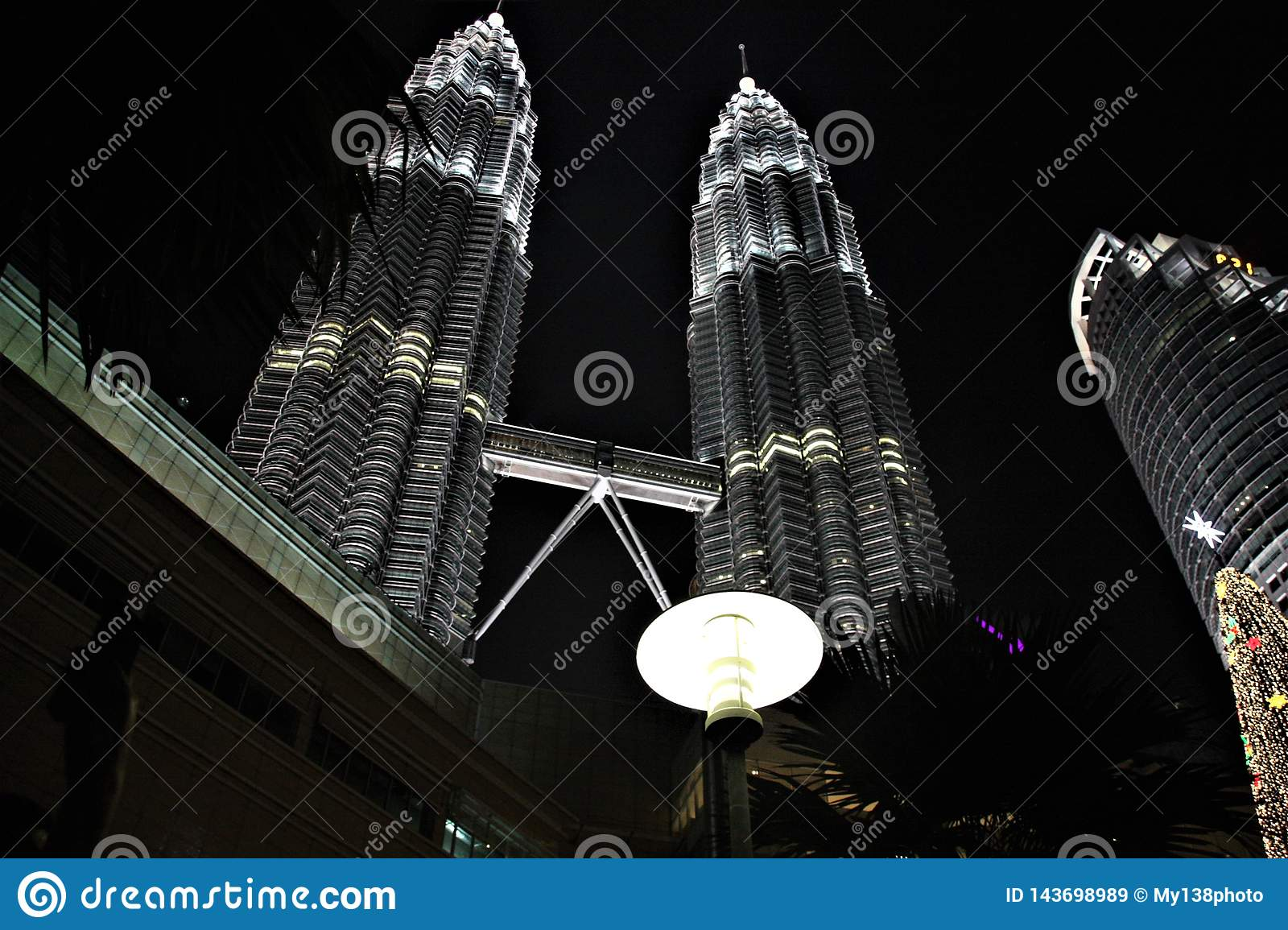 The Petronas Twin Towers at night, tallest twin towers in the world at Kuala Lumpur Malaysia