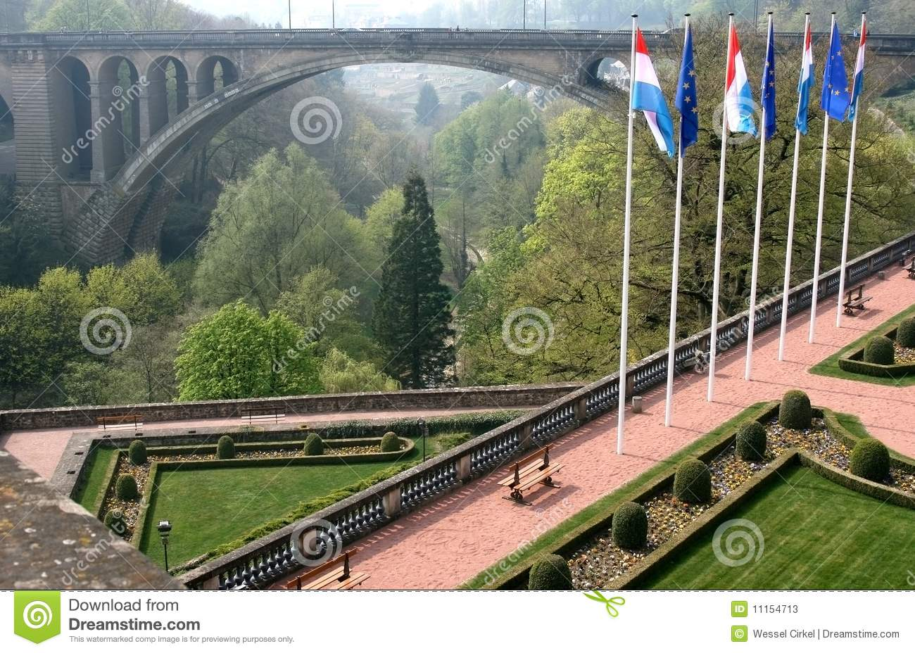 Petrusse Park And Adolphe Bridge, Luxembourg Stock Image ...