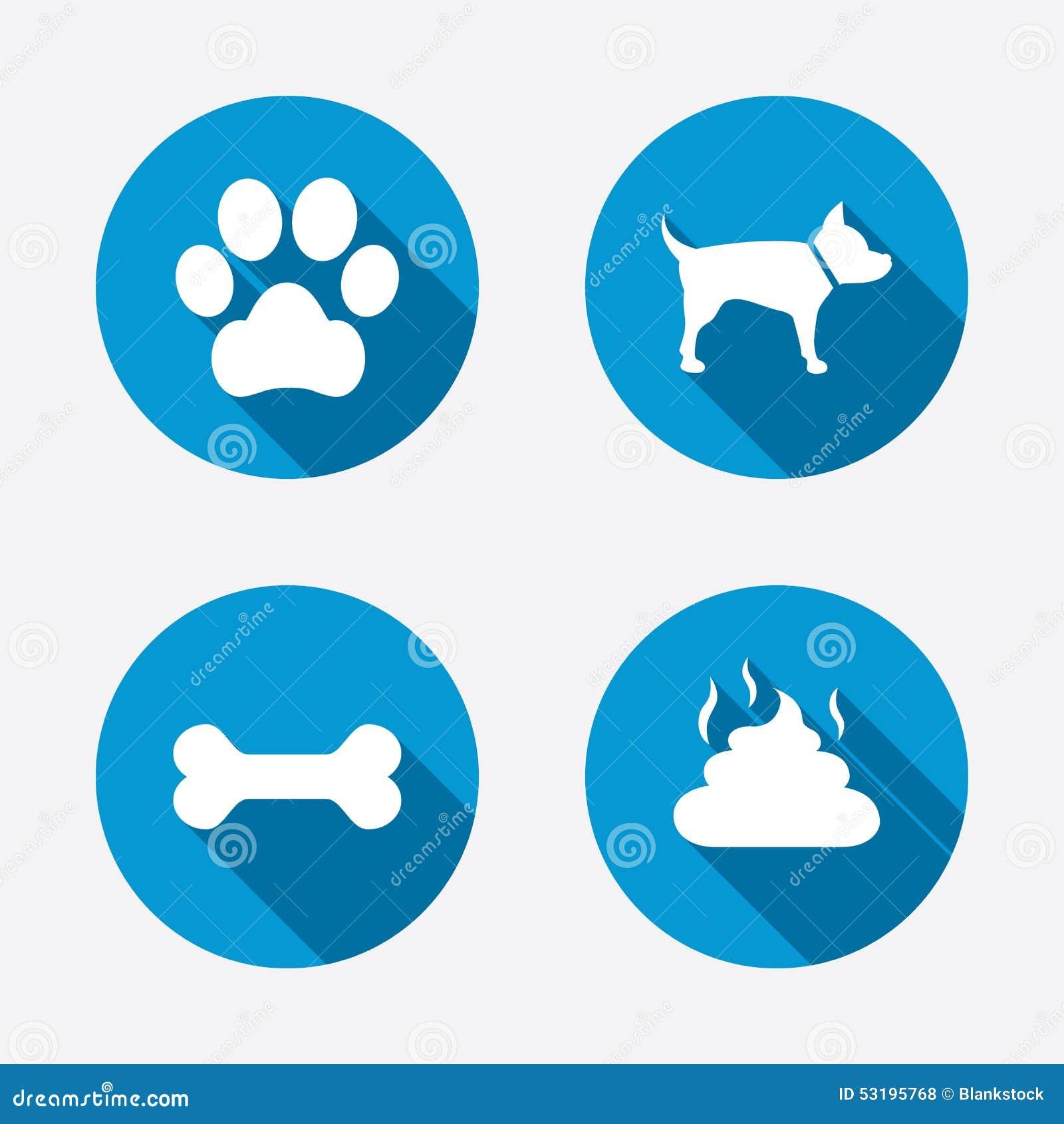 Pets ícones Pata do cão e sinais da fezes