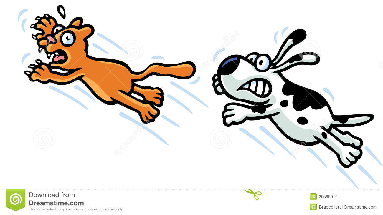 Dog Chasing Cat Clip Art pets-20599010 jpg