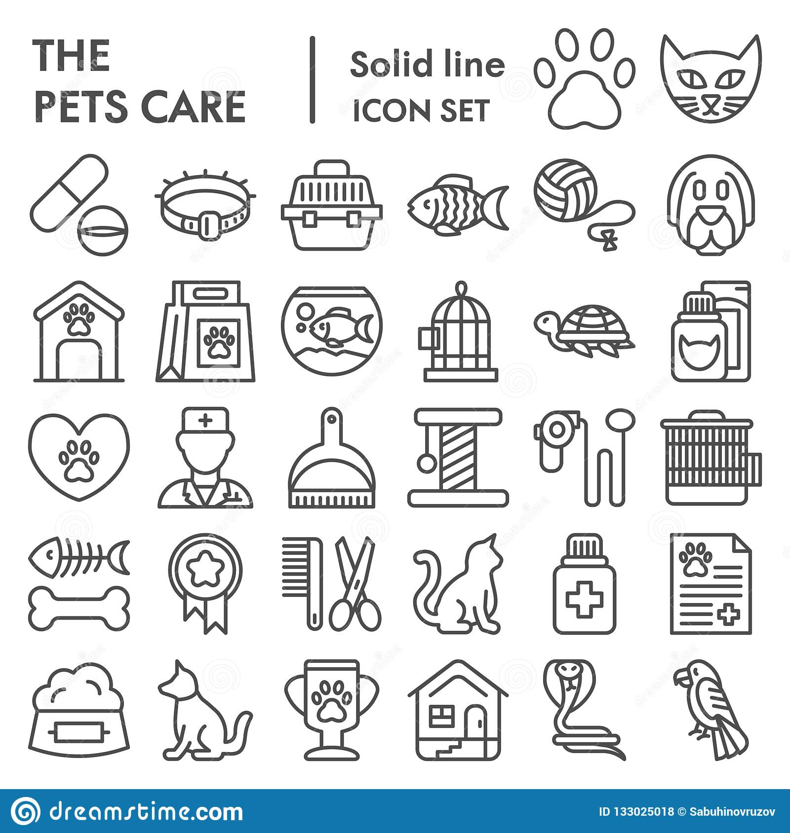 Pets care line icon set, vet symbols collection, vector sketches, logo illustrations, animal signs linear pictograms