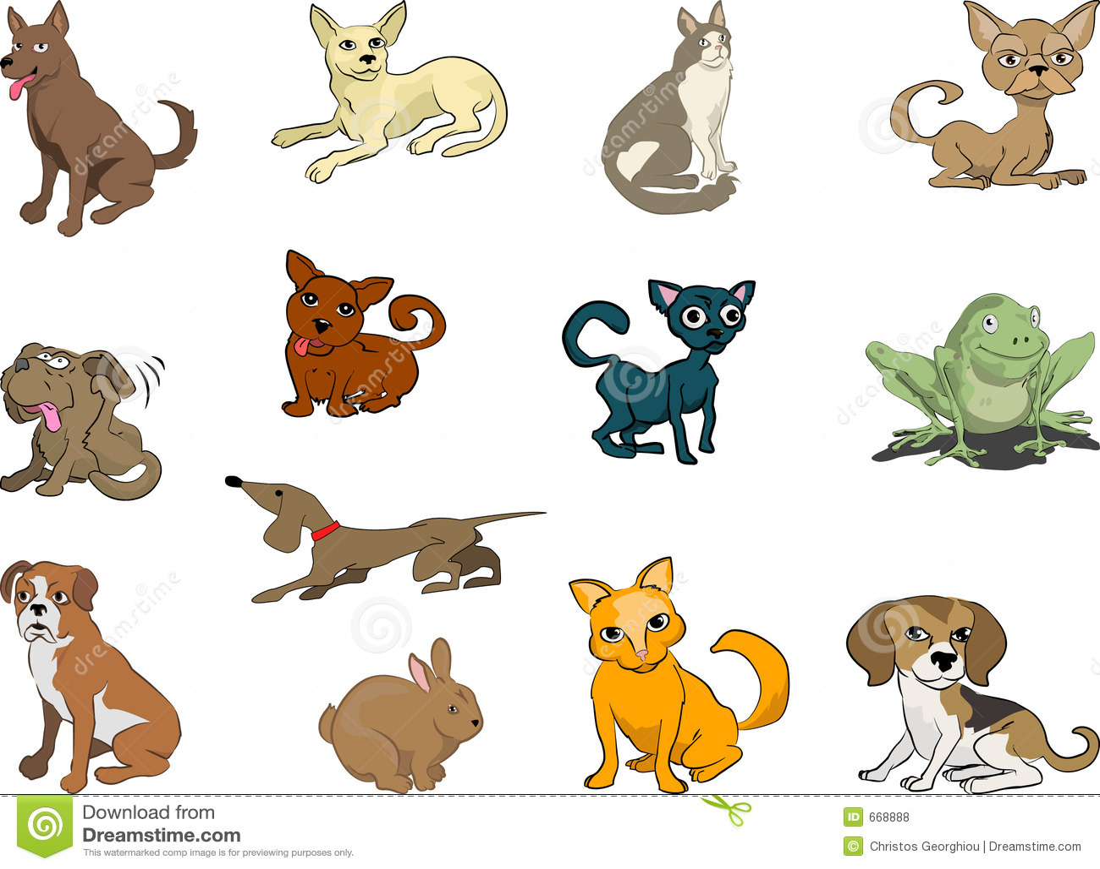 Рисованные домашние кошки
