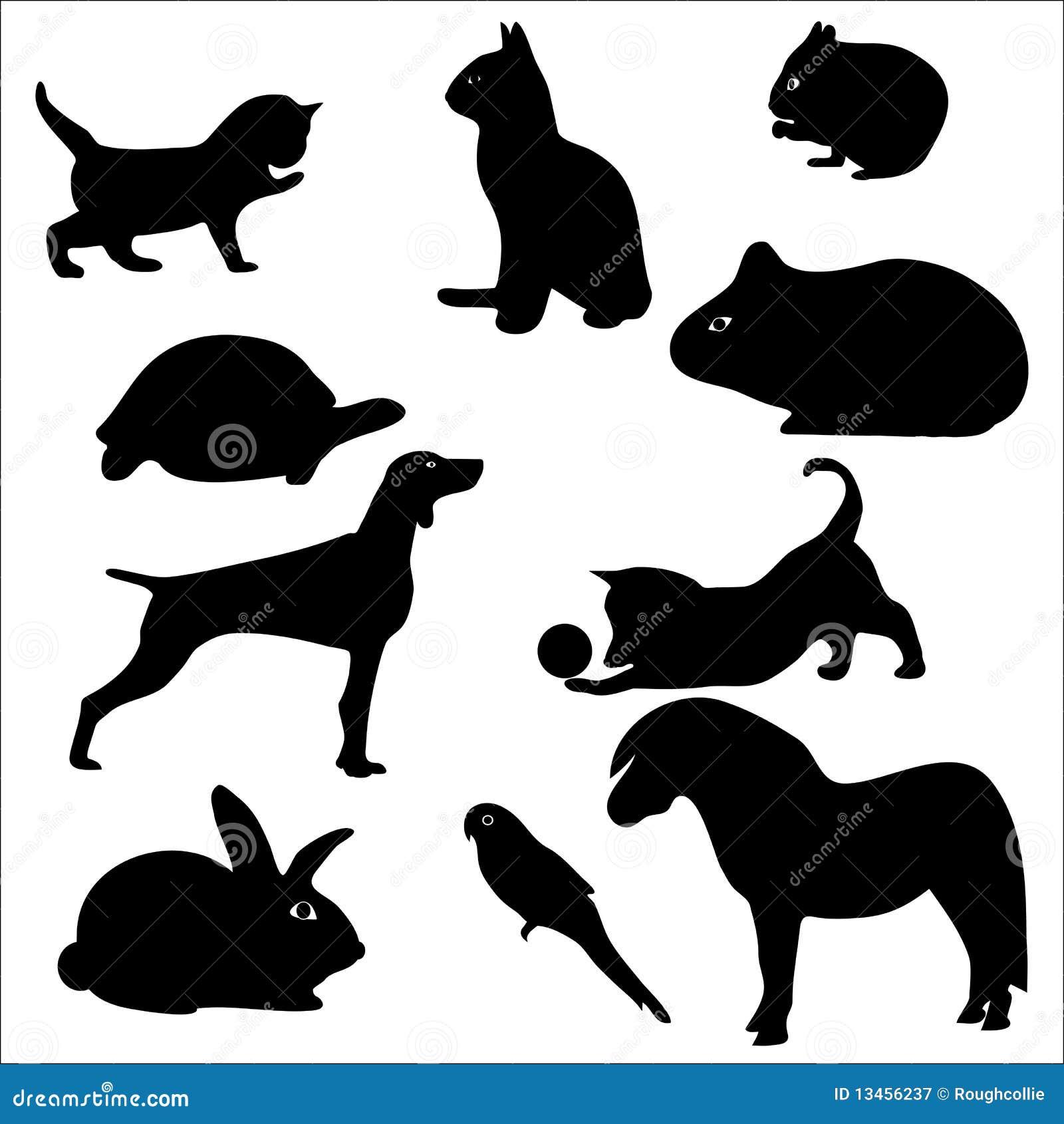 Pets dog. cat, parrot, rabbit, silhouette
