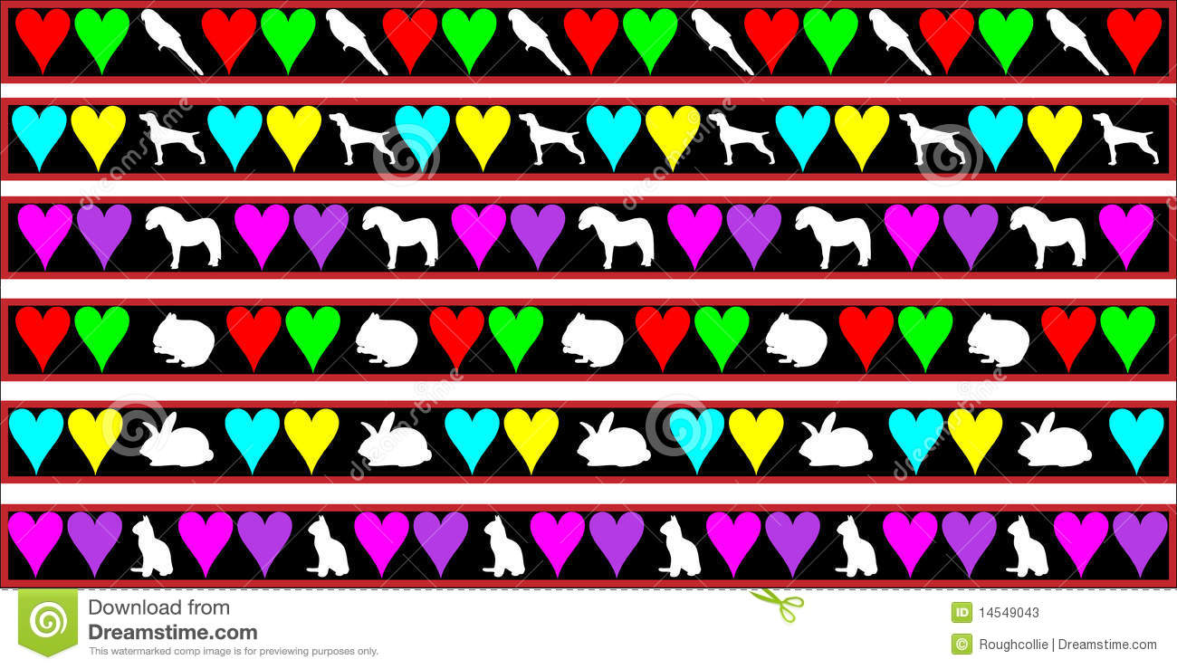 ... pet animals, parrot, dog, horse, hamster, rabbit and cat with hearts