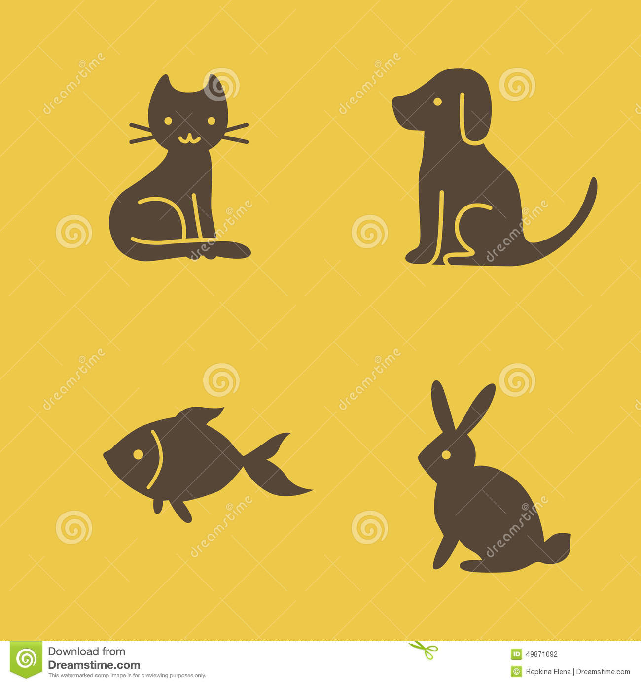 Pets icons cat dog rabbit and fish stock vector image for Fish and pets unlimited