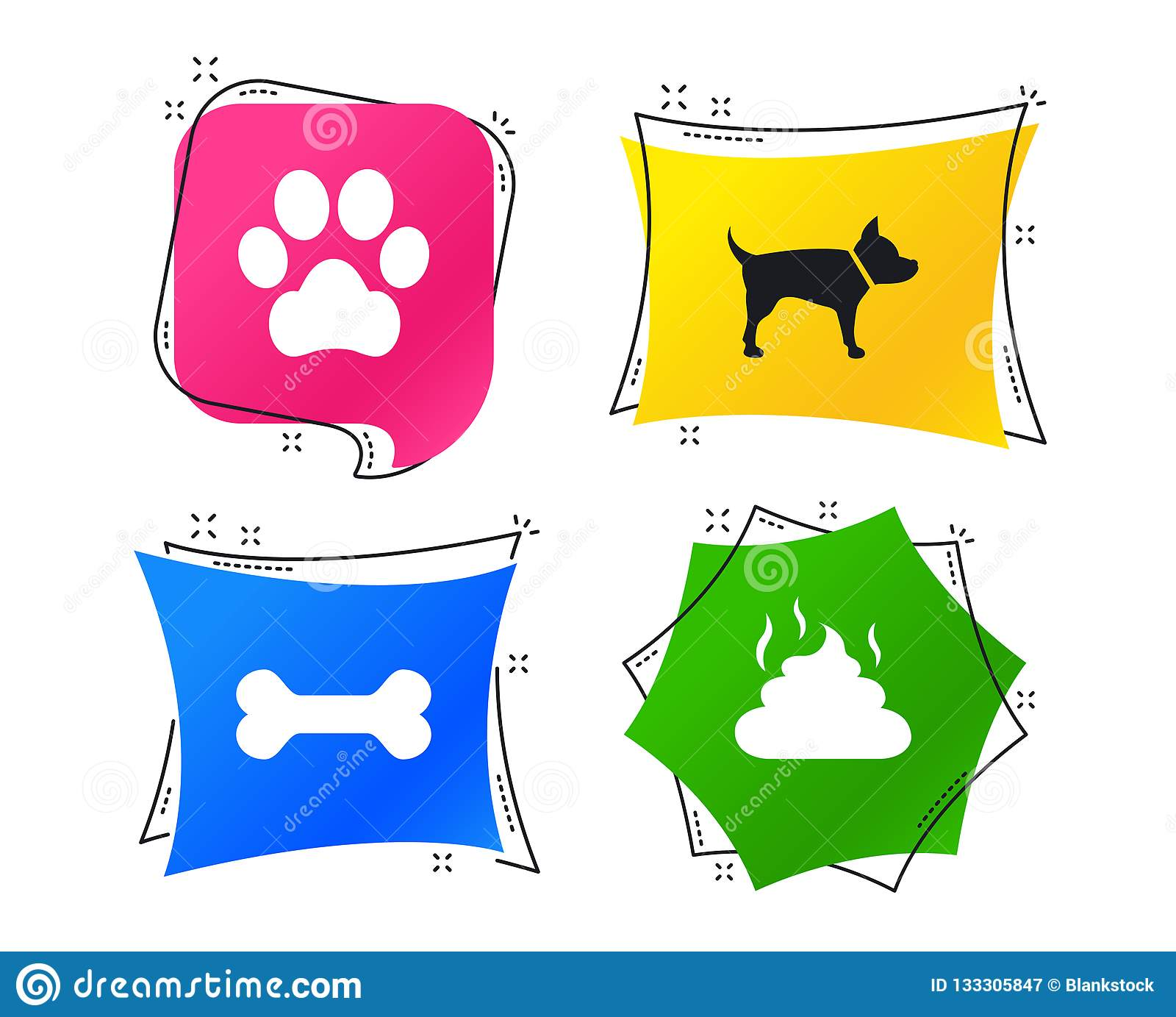 Pets icons. Dog paw and feces signs. Vector