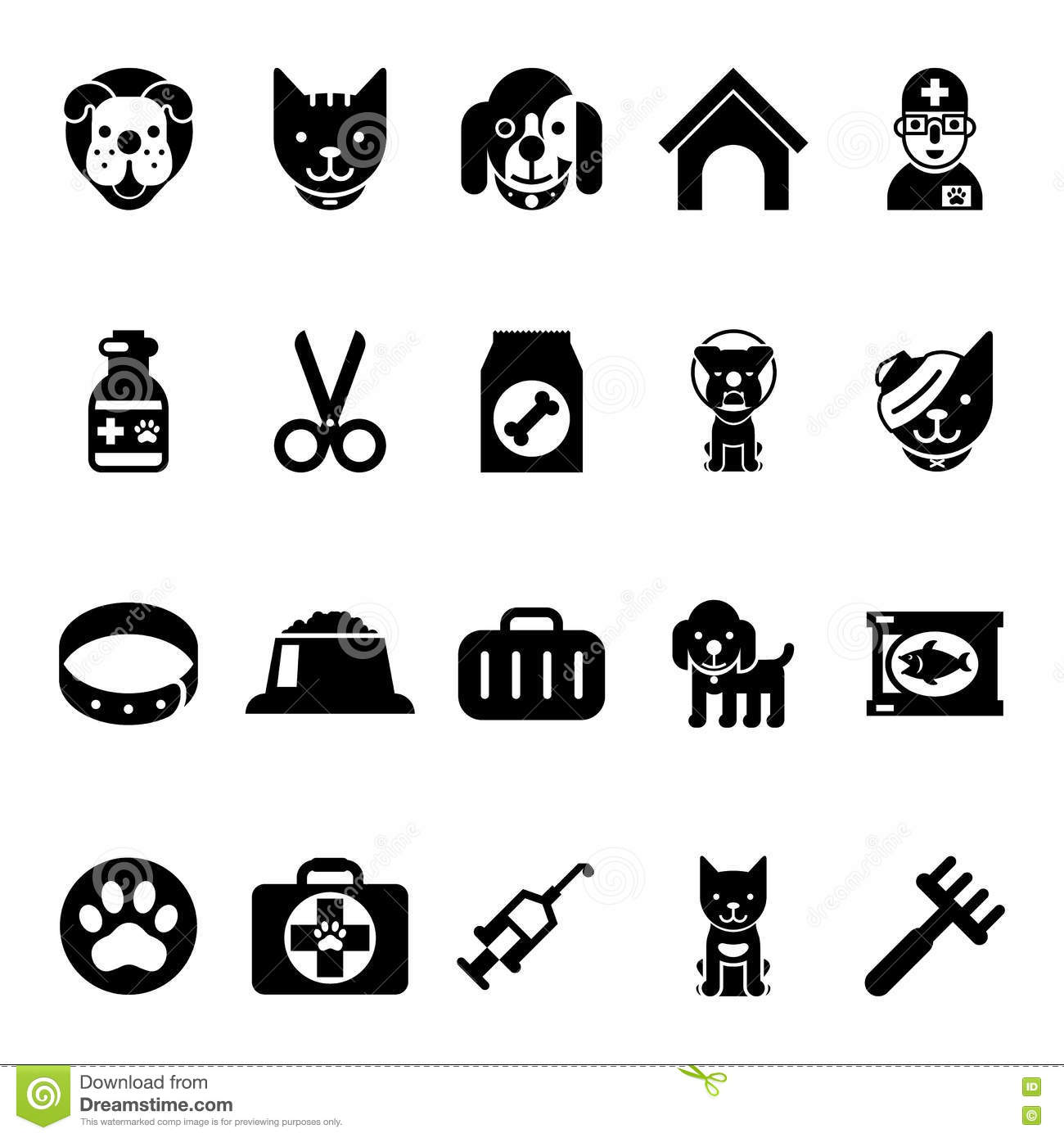 Set Icons - Pets, Vet Clinic, Veterinary Medicine Stock Photo ...